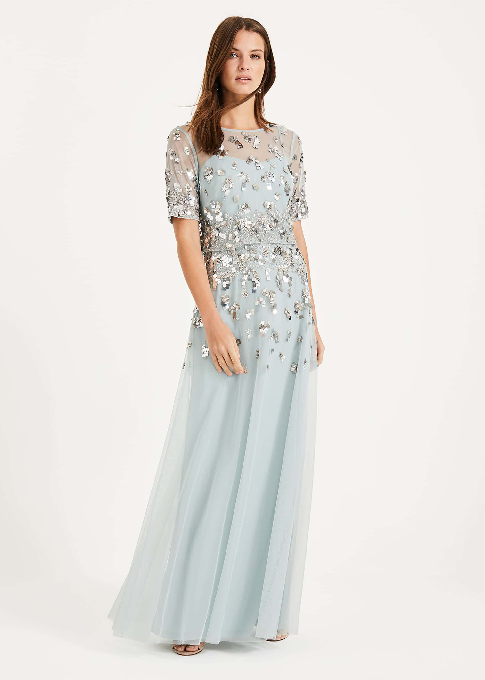 Phase Eight Christina Sequin Maxi Dress, Blue, Maxi