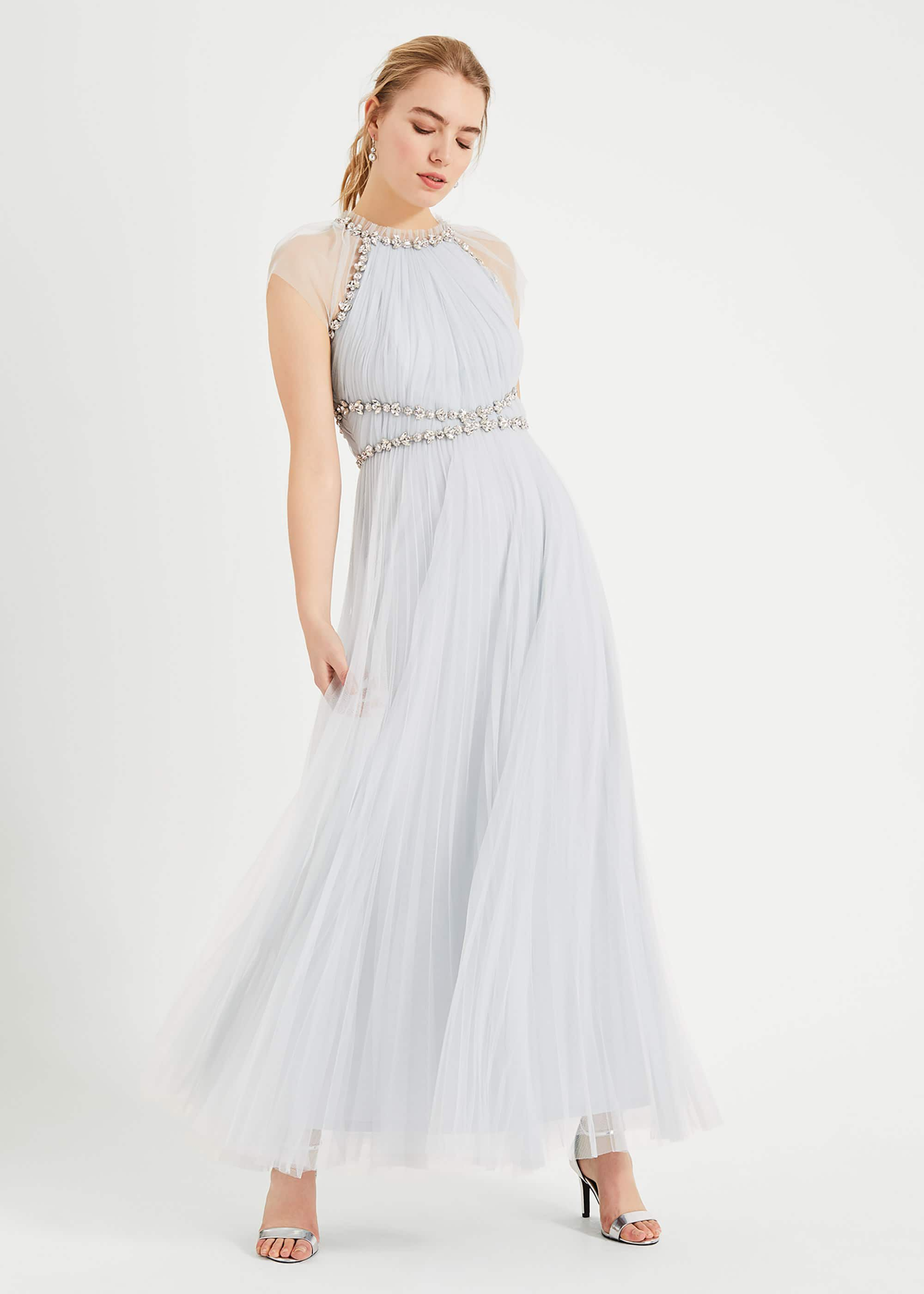 Phase Eight Gerona Pleated Tulle Dress, Blue, Maxi
