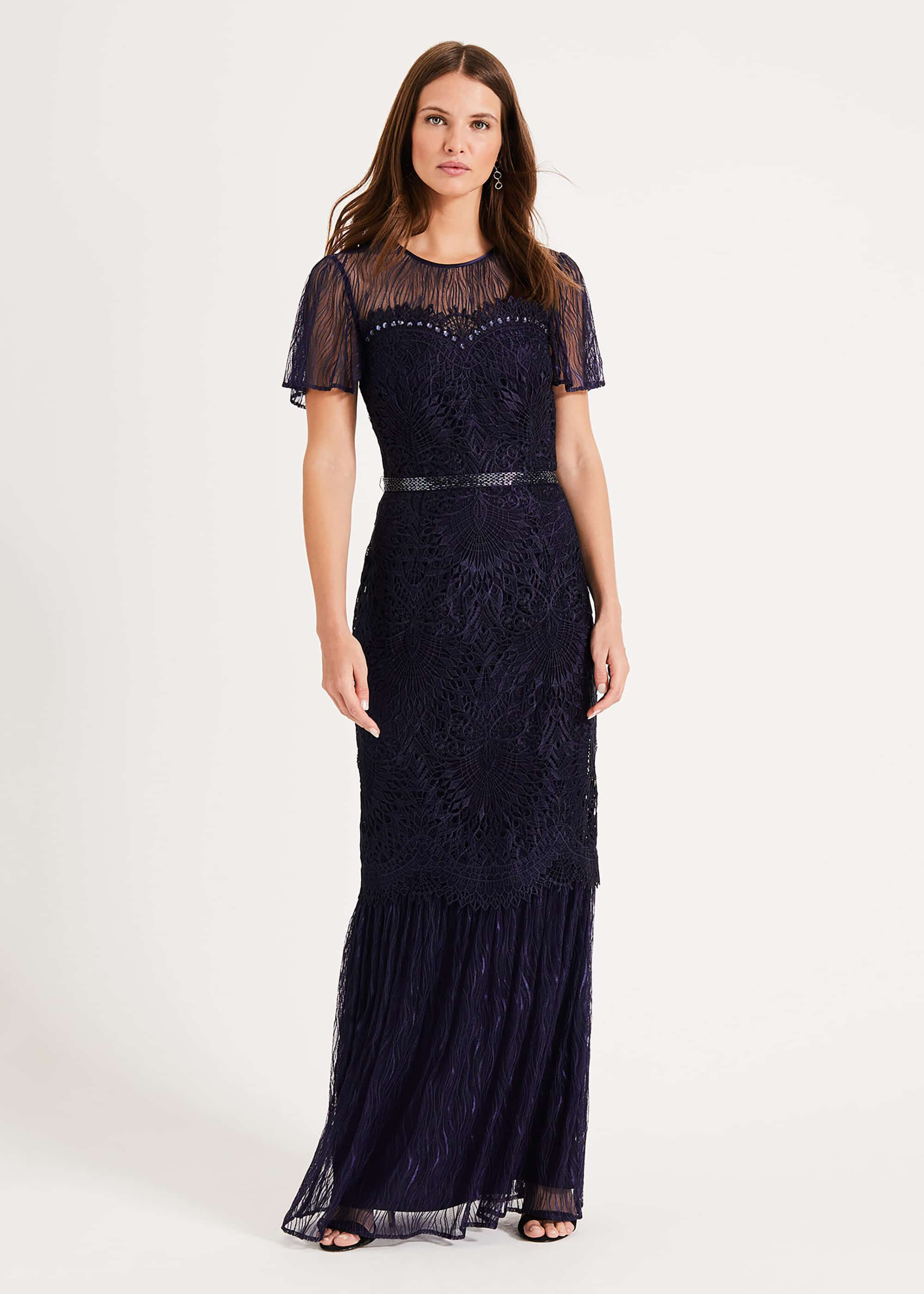 Phase Eight Cayleigh Lace Maxi Dress, Blue, Maxi