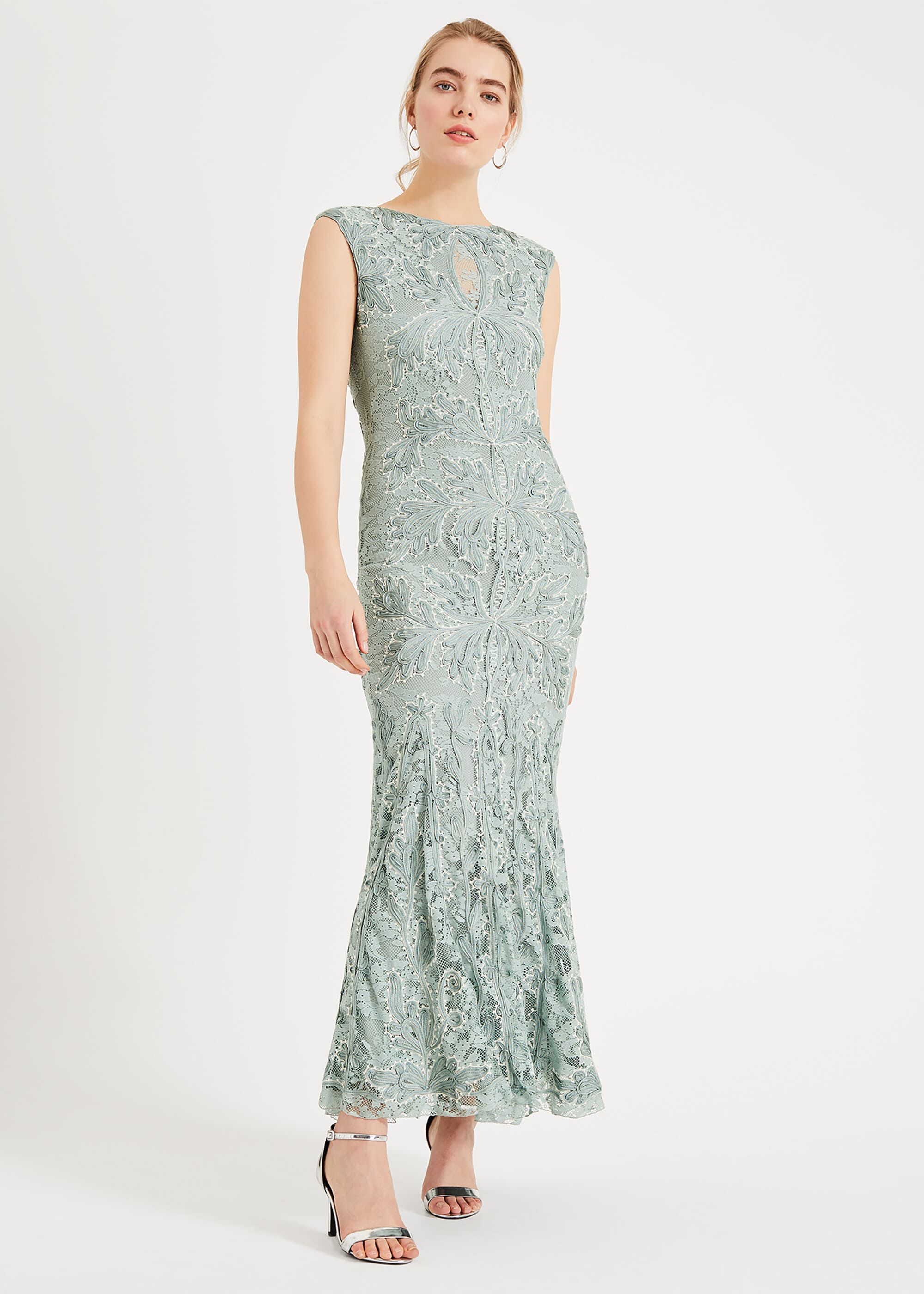 Phase Eight Paige Tapework Lace Maxi Dress, Green, Maxi