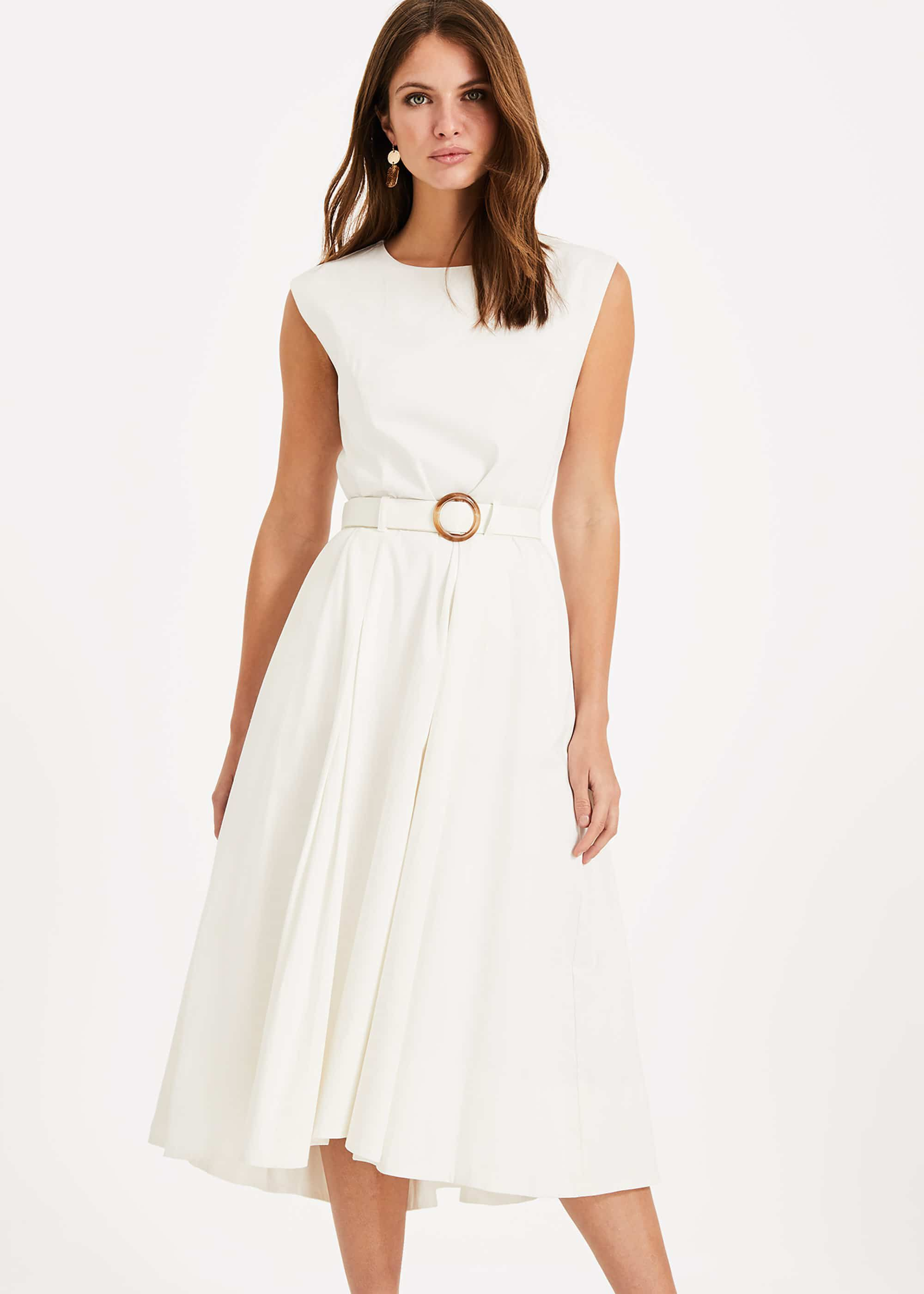 Phase Eight Mariella Belted Dress, Cream, Fit & Flare