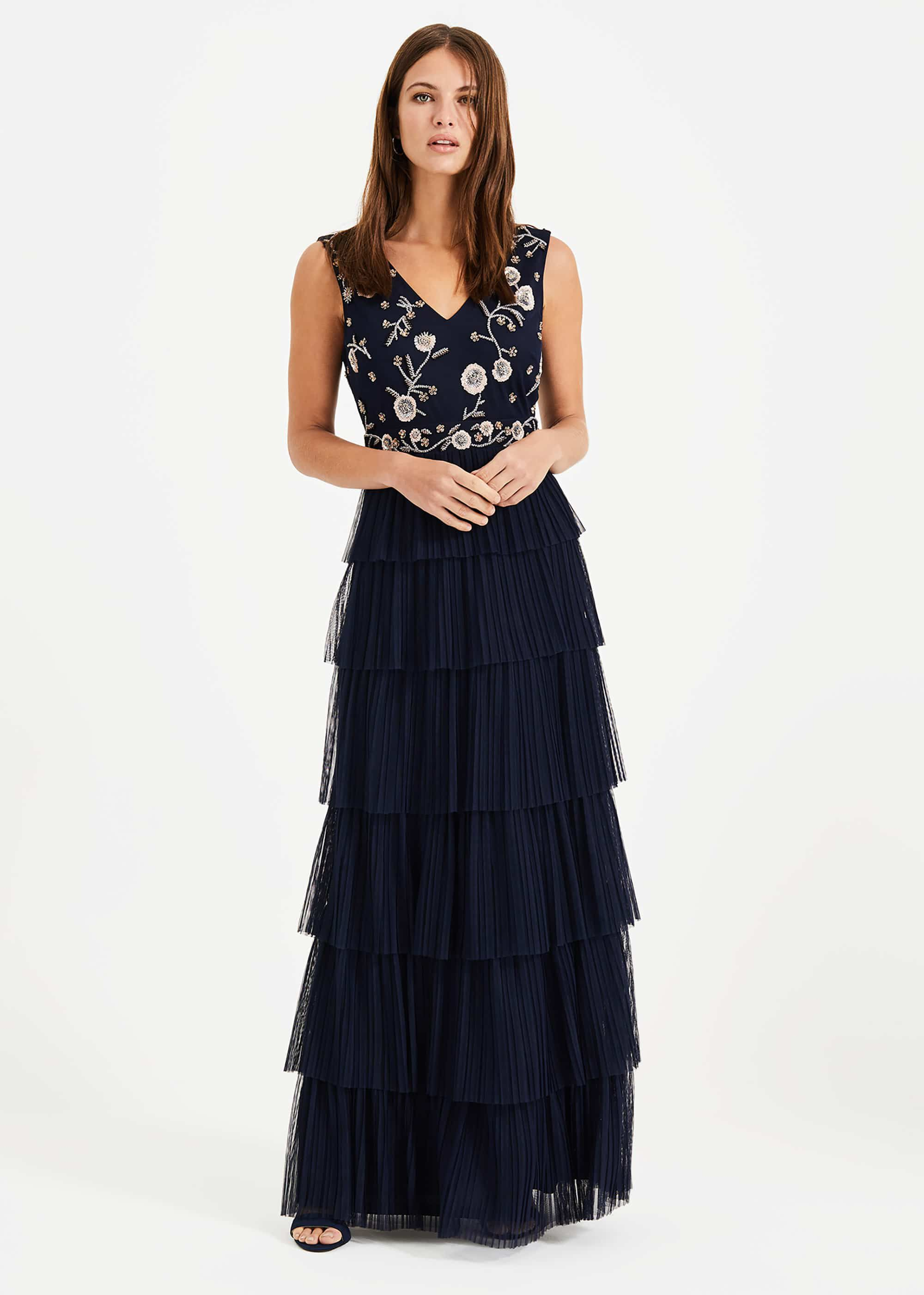 Phase Eight Cordelia Tiered Maxi Dress, Blue, Maxi, Occasion Dress