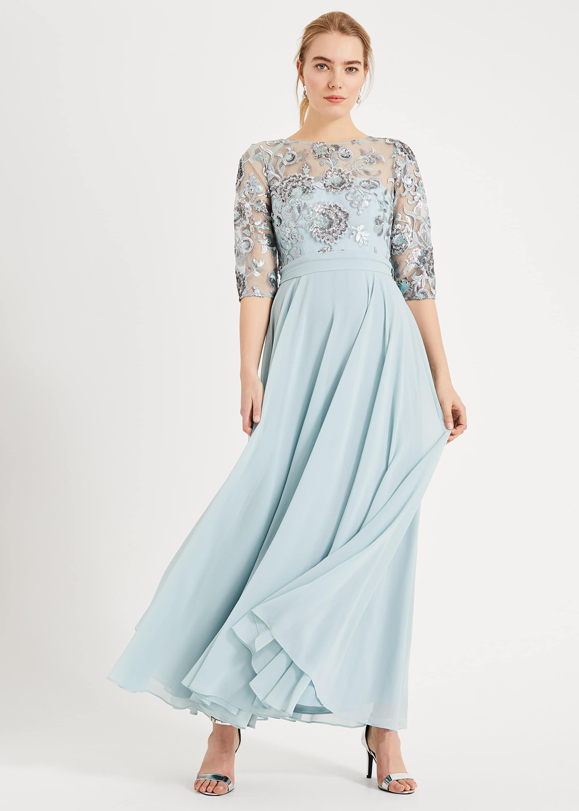 Phase Eight Clarissa Sequin Maxi Dress, Blue, Maxi