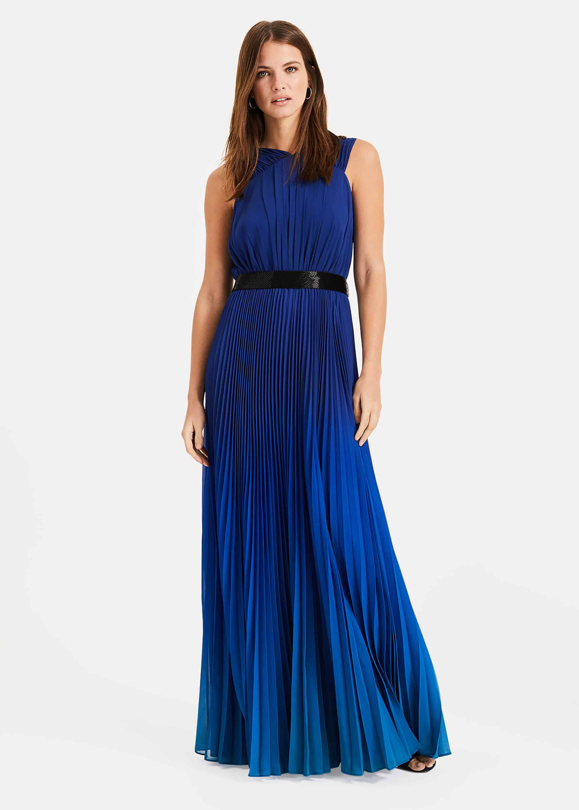 Phase Eight Elinor Belted Maxi Dress, Blue, Maxi