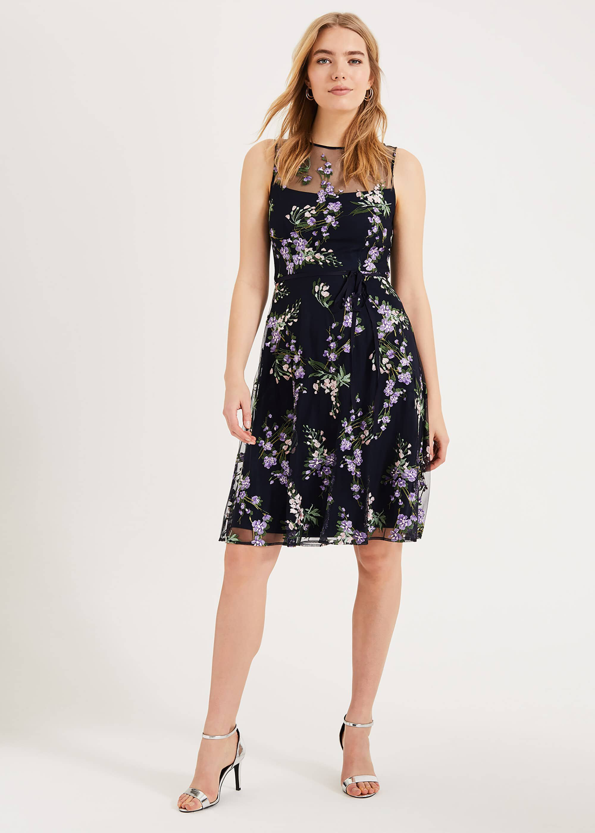 Phase Eight Lia Embroidered Dress, Blue, Fit & Flare