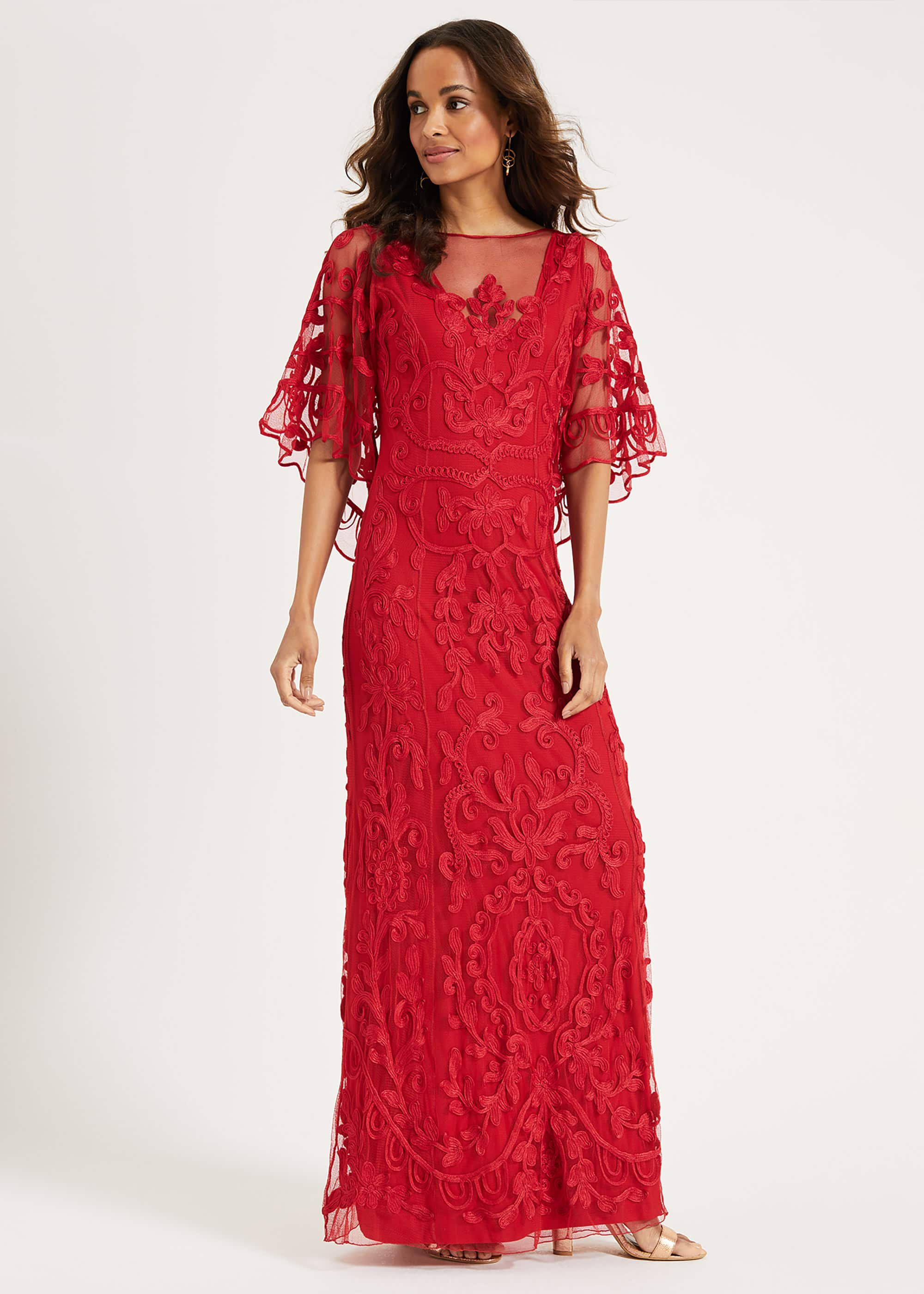Phase Eight Aviana Tapework Lace Maxi Dress, Red, Maxi