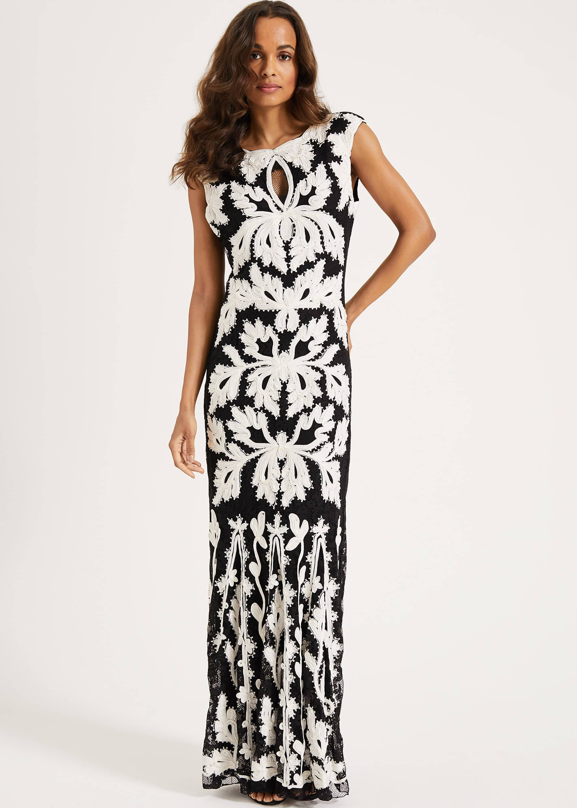 Phase Eight Paige Tapework Lace Maxi Dress, Black, Maxi