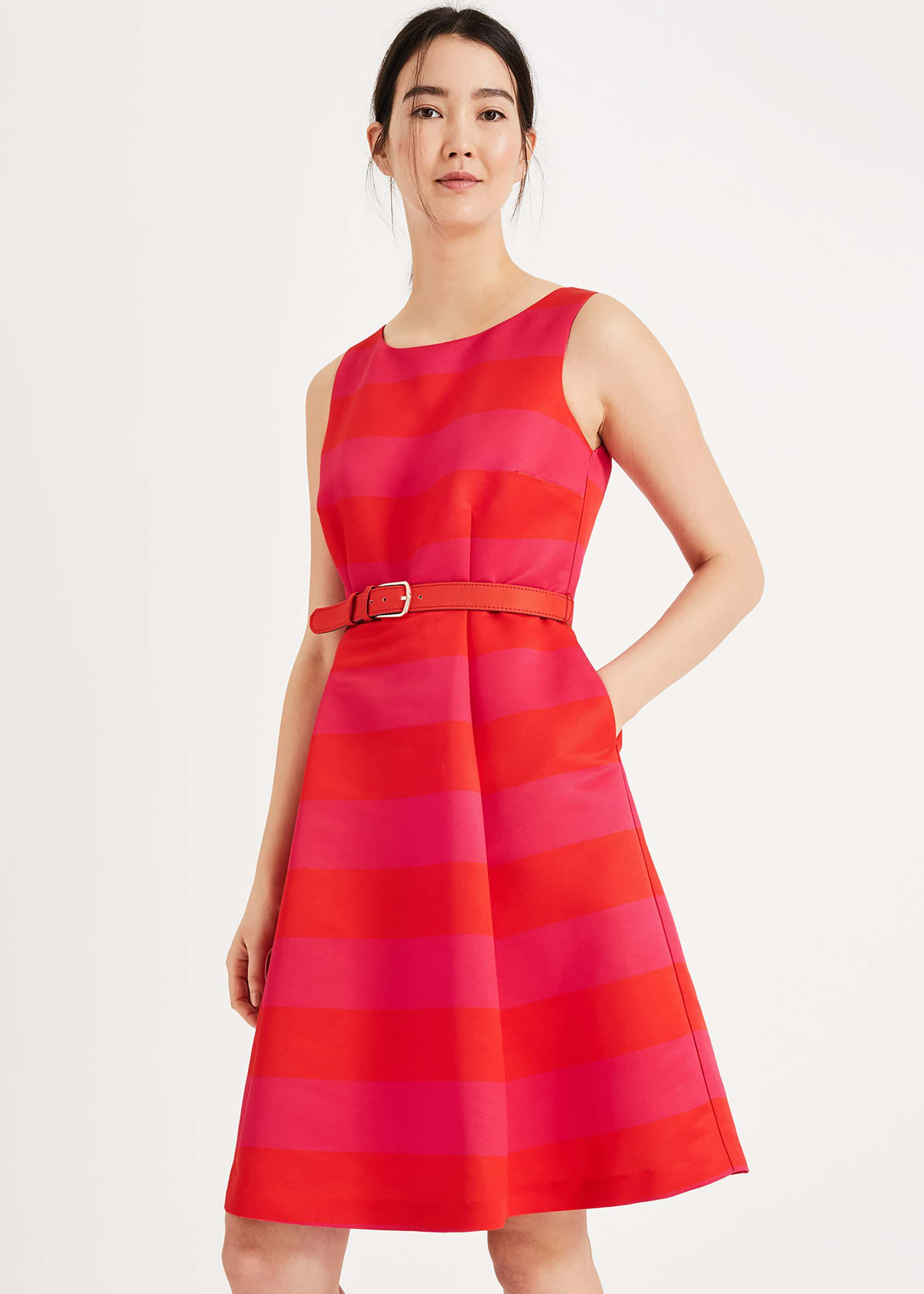 Phase Eight Andrea Stripe Dress, Pink, Fit & Flare, Occasion Dress