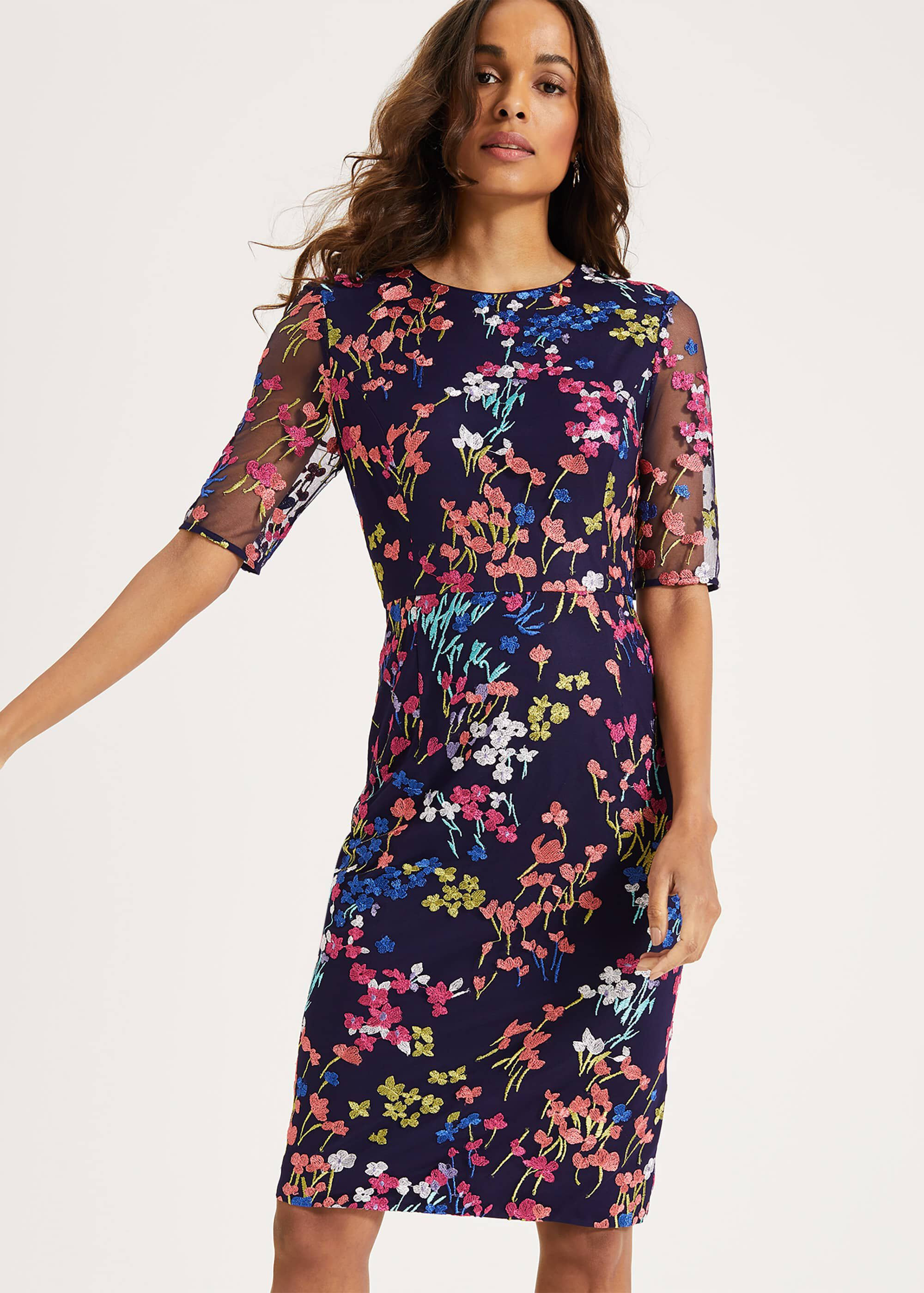 Phase Eight Teodora Embroidered Dress, Blue, Shift, Occasion Dress