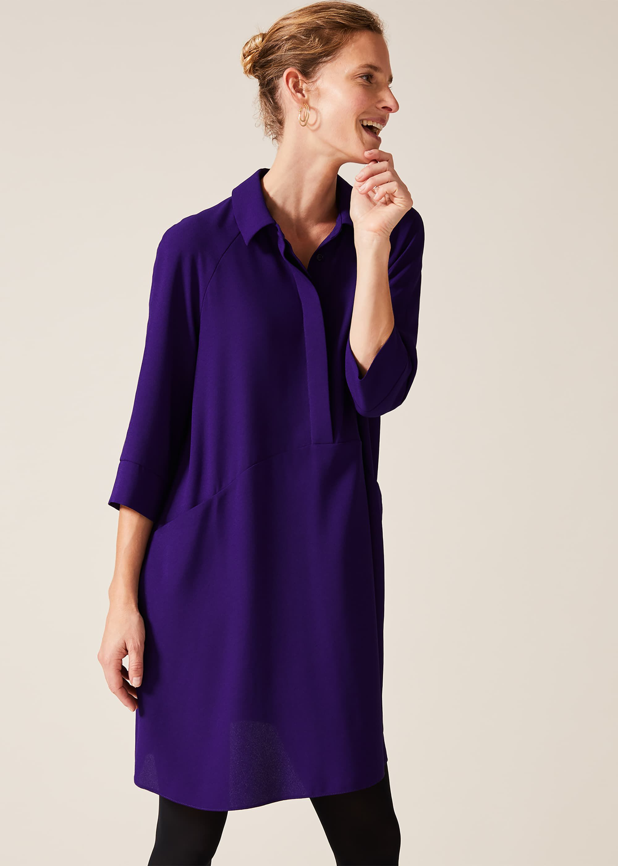 Phase Eight Bella Swing Dress, Purple, Shirt