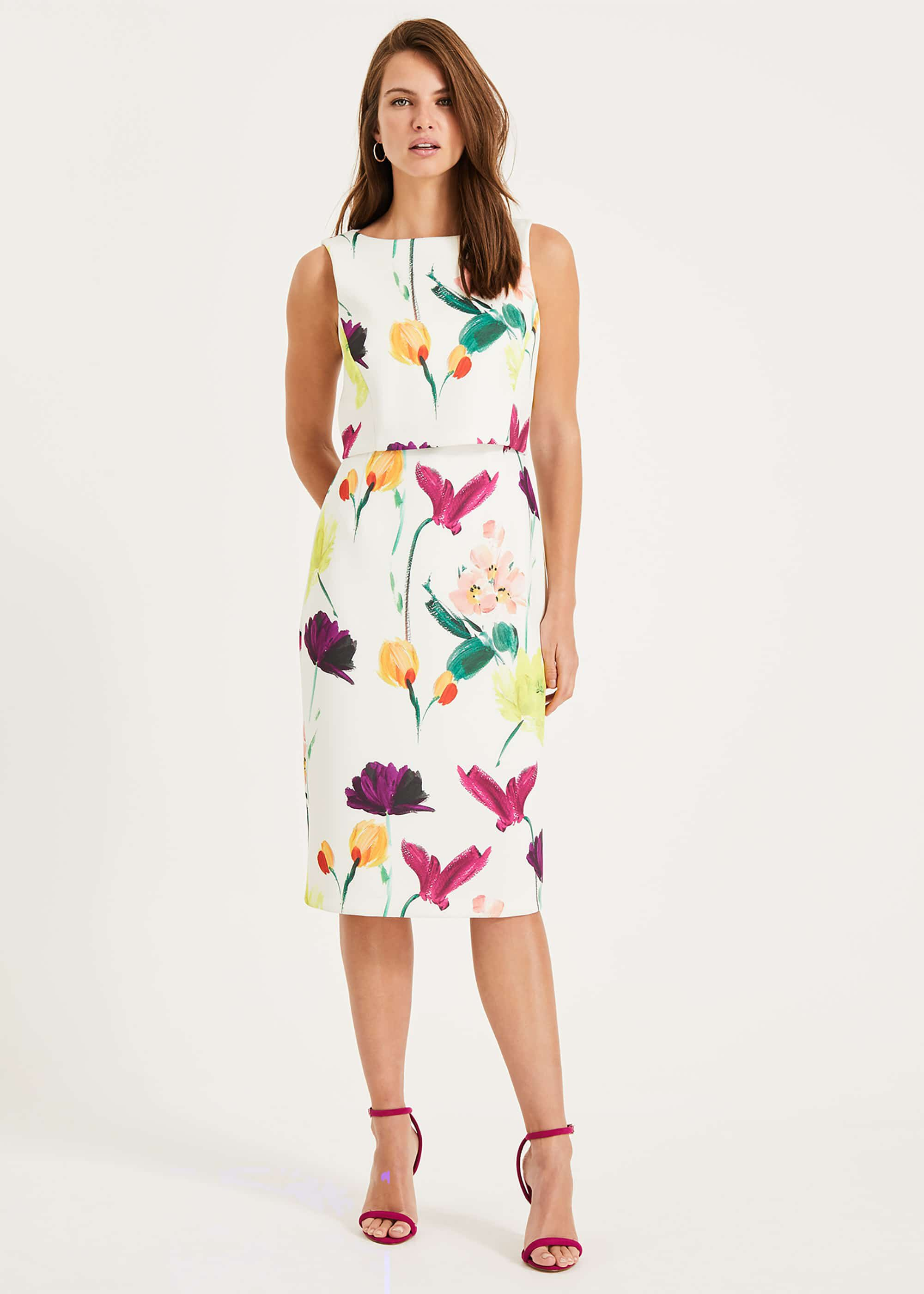 Phase Eight Elin Floral Dress, Cream, Fitted