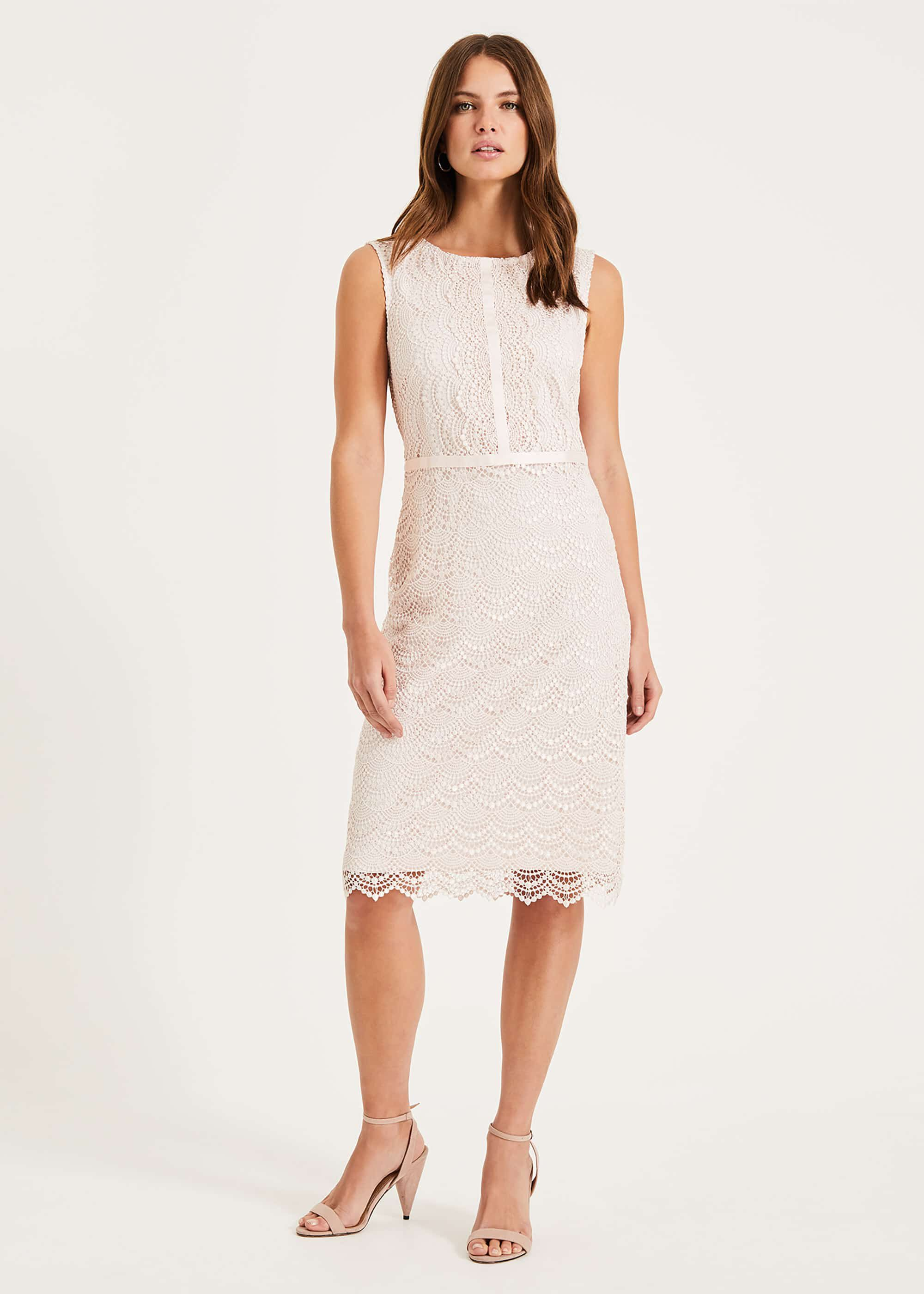 Phase Eight Helga Scallop Lace Dress, Pink, Shift