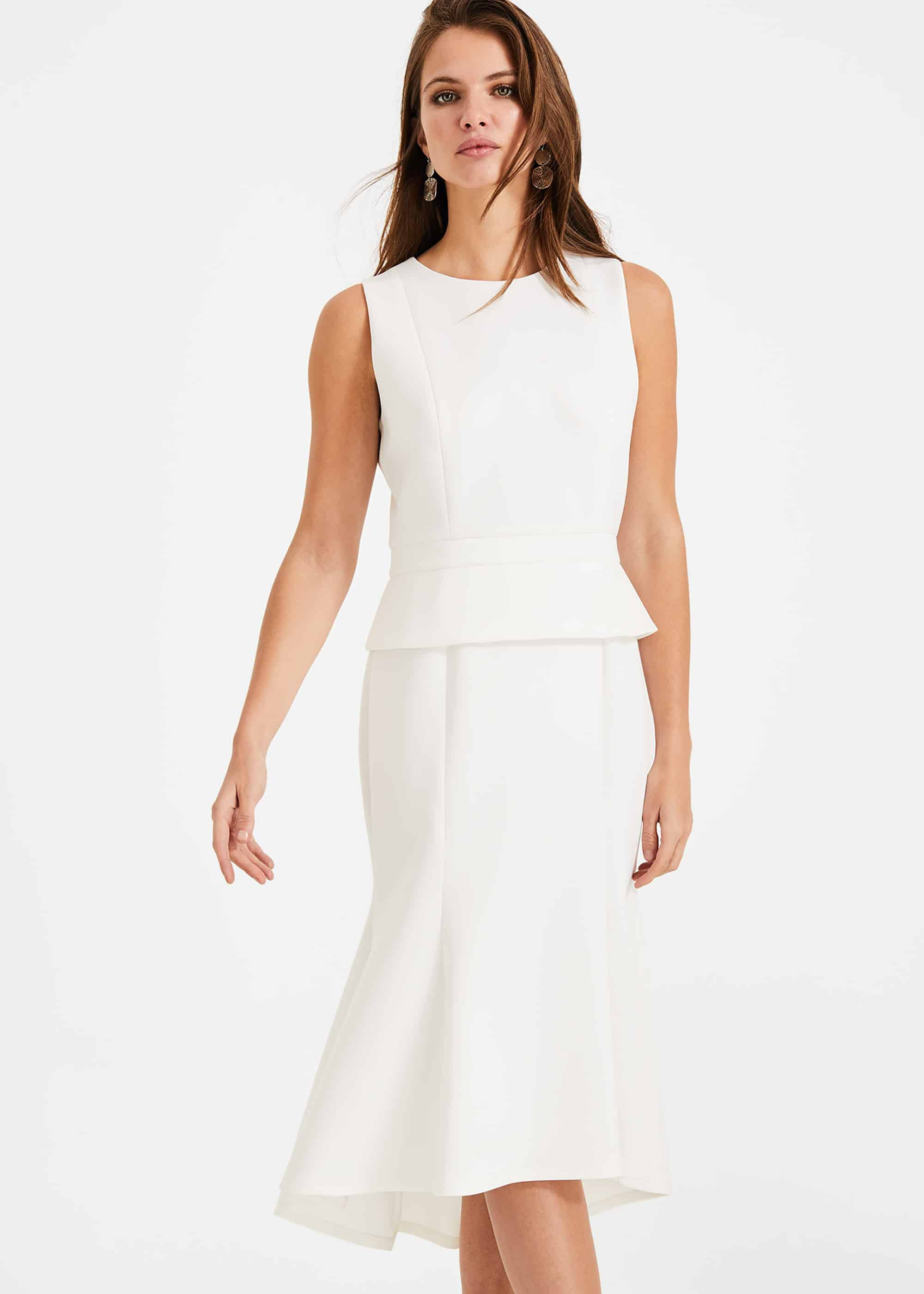 Phase Eight Kerry Peplum Dress, Cream, Fit & Flare