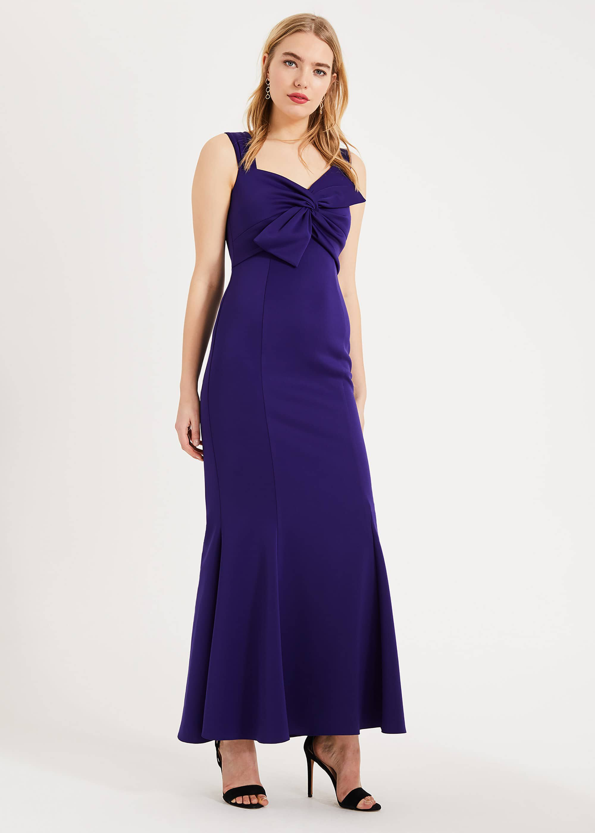 Phase Eight Gillian Bow Maxi Dress, Purple, Maxi, Occasion Dress