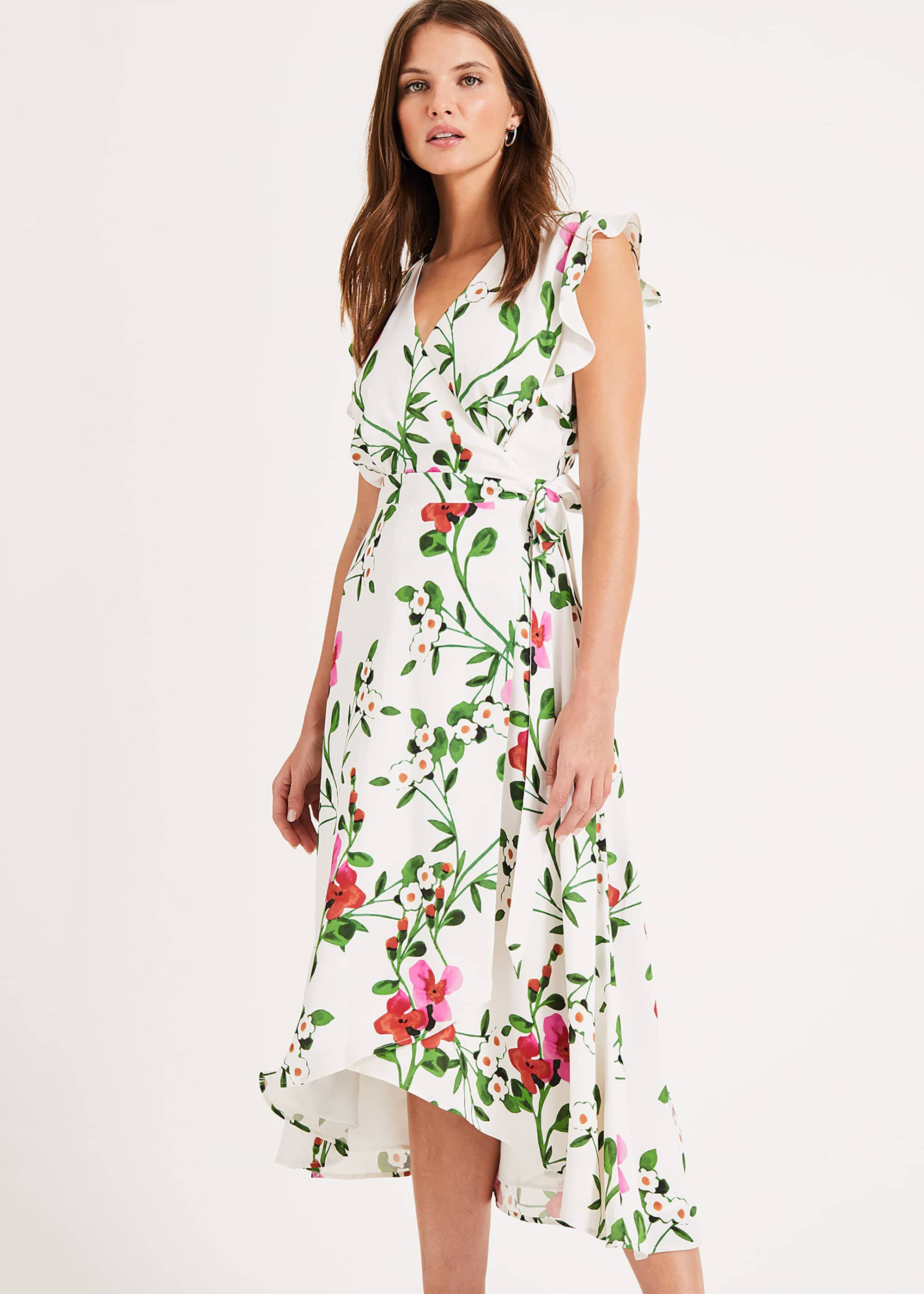 Phase Eight Posy Printed Wrap Dress, Cream, Wrap, Occasion Dress