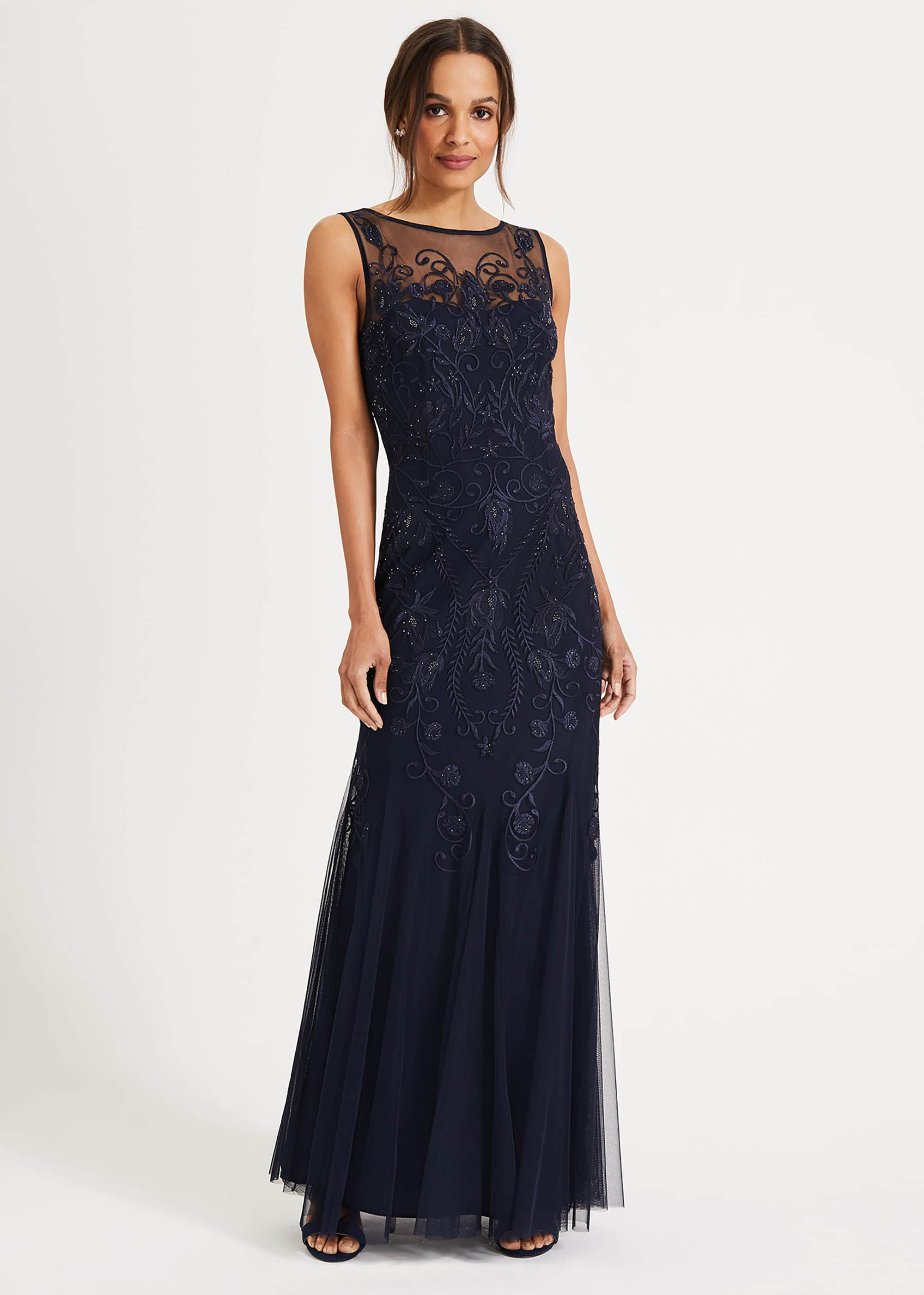 Phase Eight Cecilia Embroidered Maxi Dress, Blue, Maxi