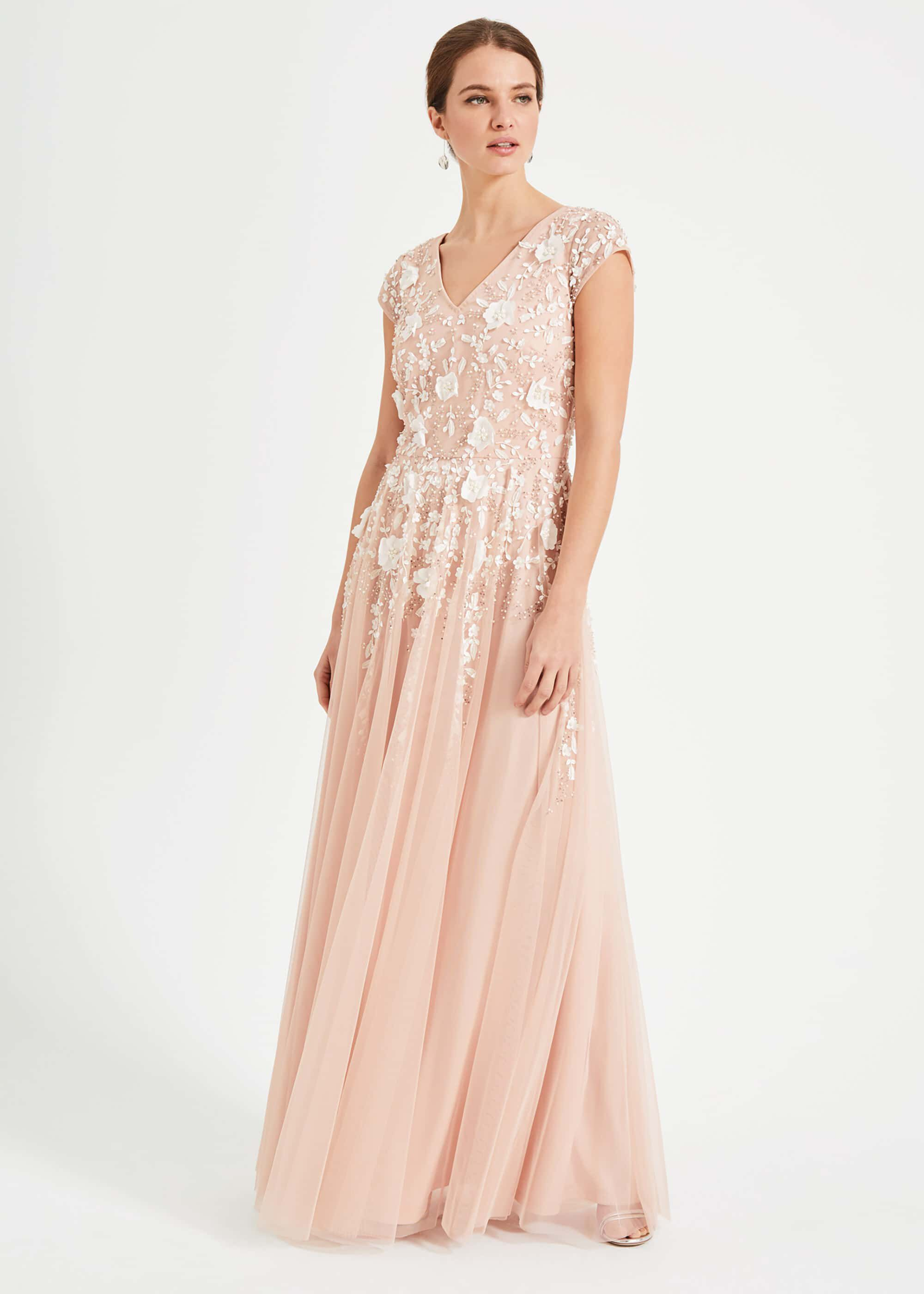 Phase Eight Henriette Flower Maxi Dress, Pink, Maxi, Occasion Dress