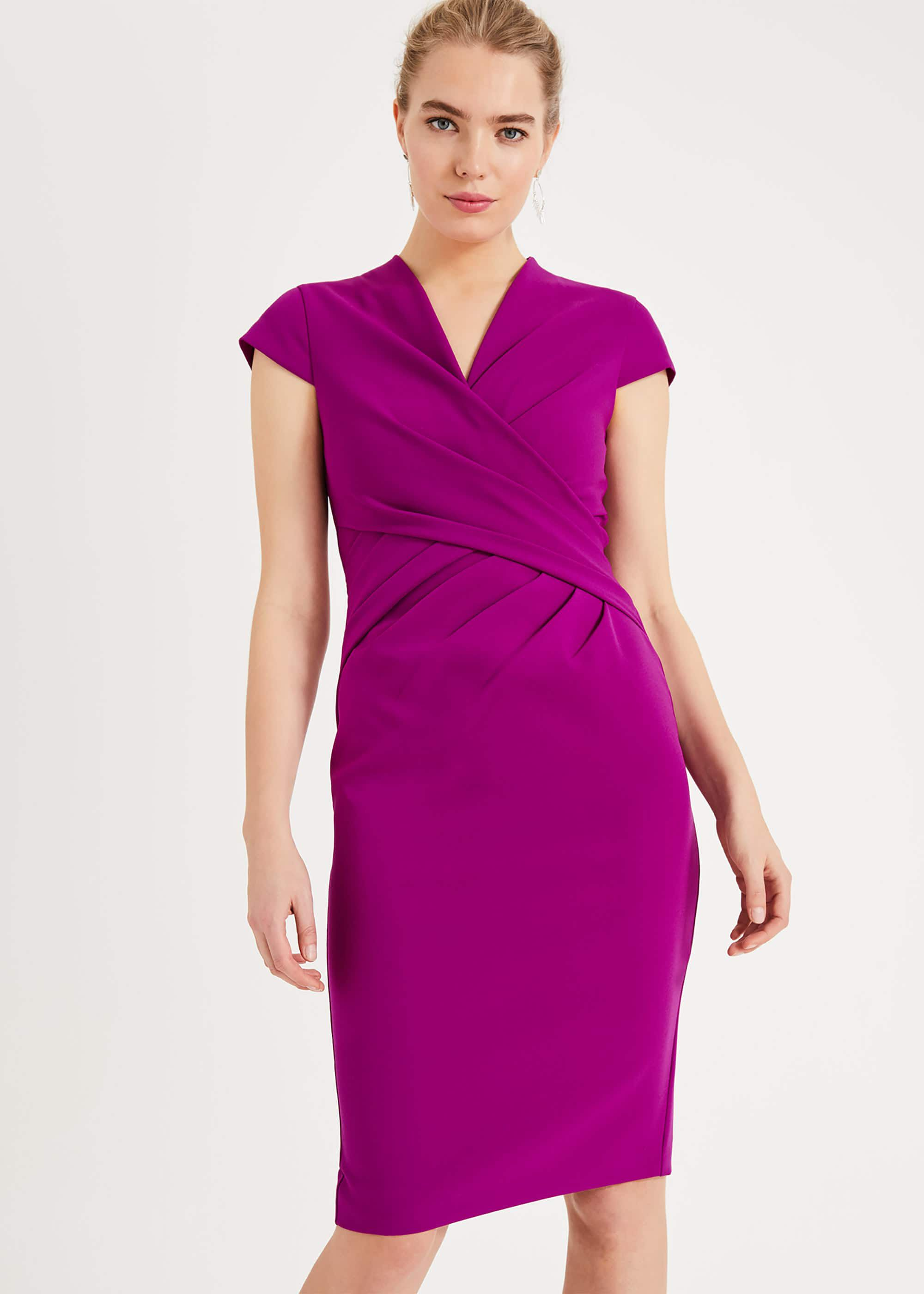 Phase Eight Rosetta Ruched Dress, Purple, Shift, Occasion Dress