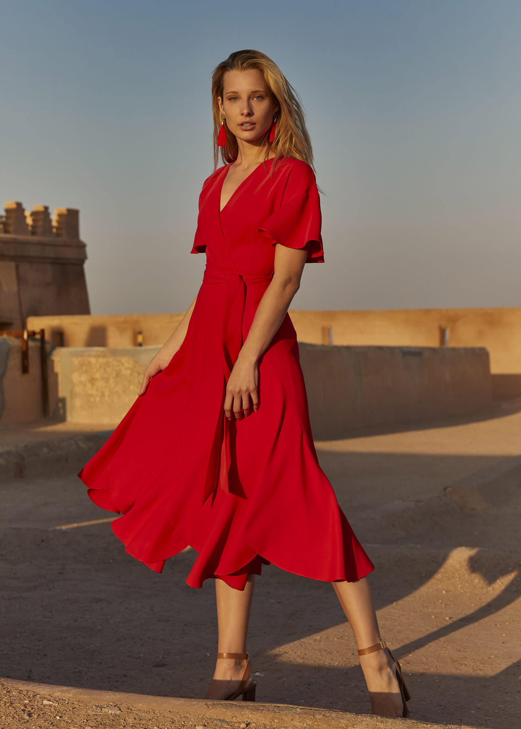 Phase Eight Elena Panelled Dress, Red, Fit & Flare