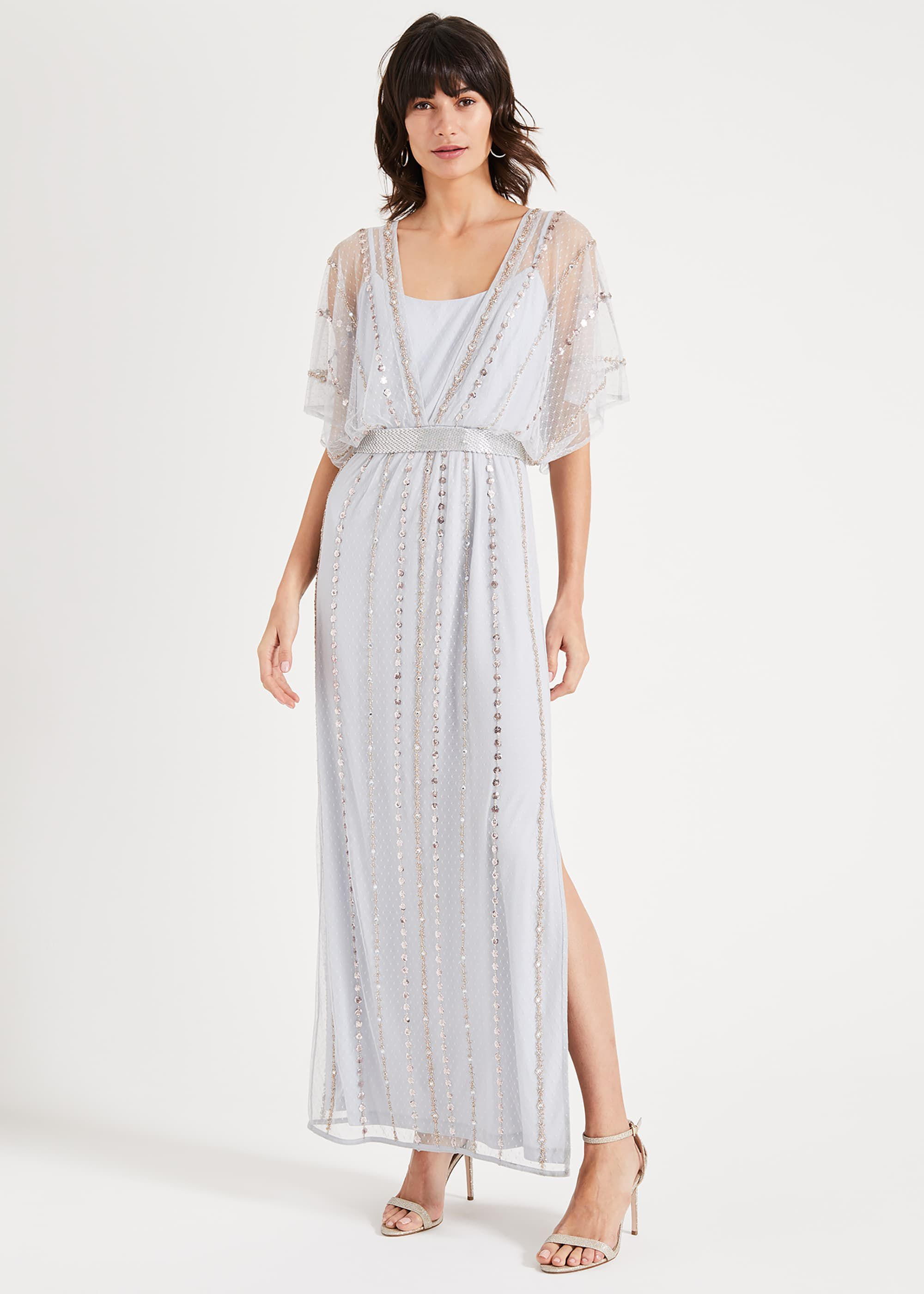 1920s Dresses UK | Flapper, Gatsby, Downton Abbey Dress Phase Eight Daniela Beaded Maxi Dress Blue Maxi £225.00 AT vintagedancer.com