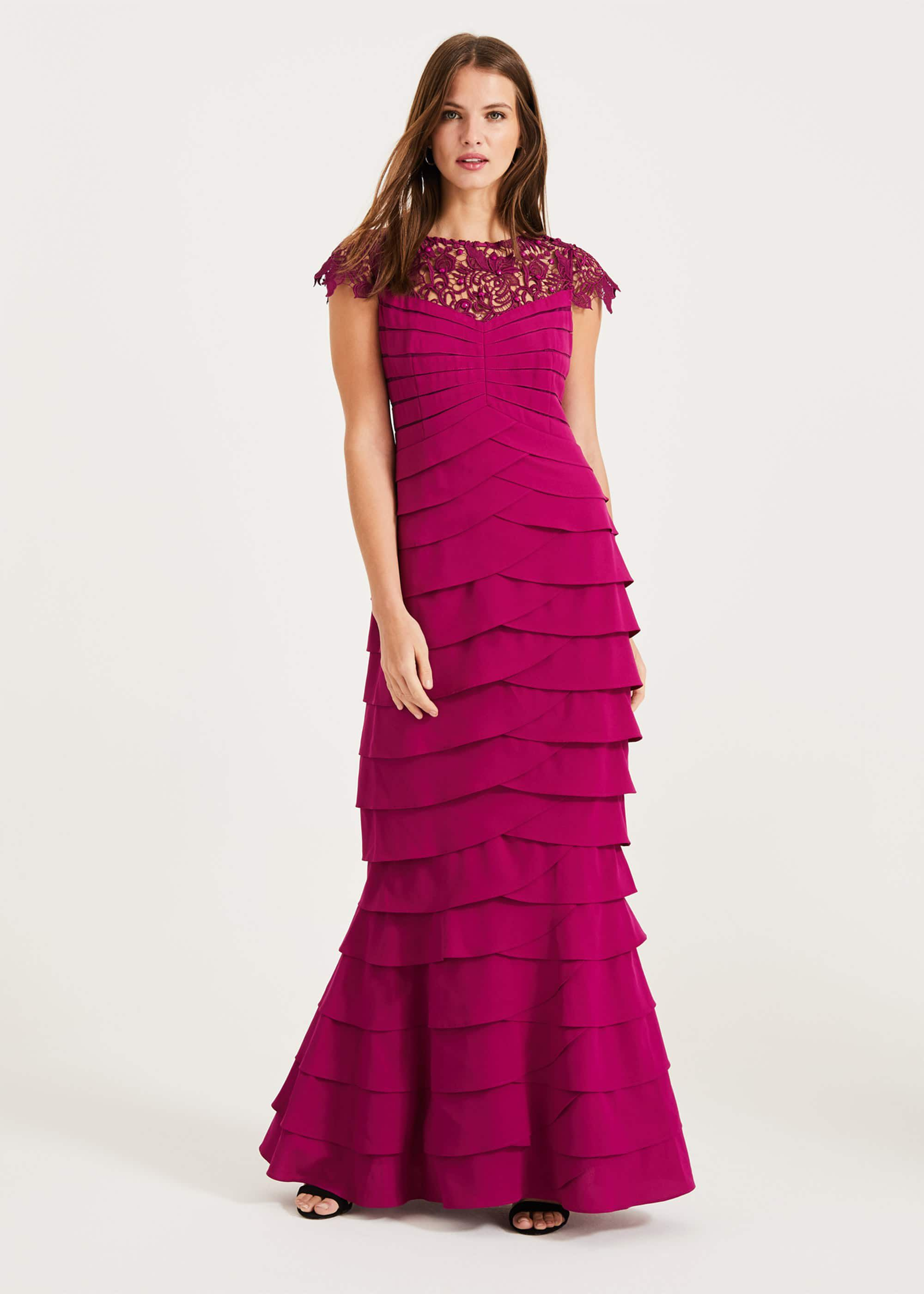Phase Eight Alix Layered Fishtail Dress, Purple, Default, Occasion Dress