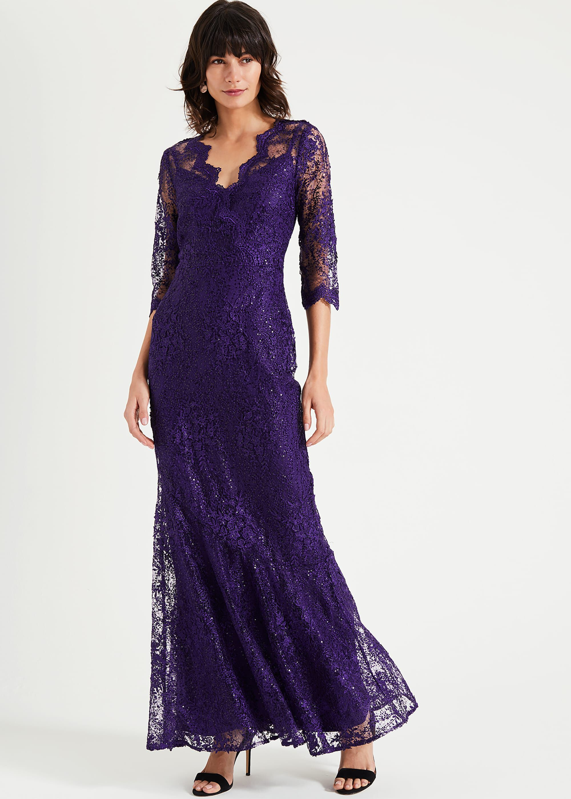 Phase Eight Grace Lace Maxi Dress, Purple, Maxi, Occasion Dress