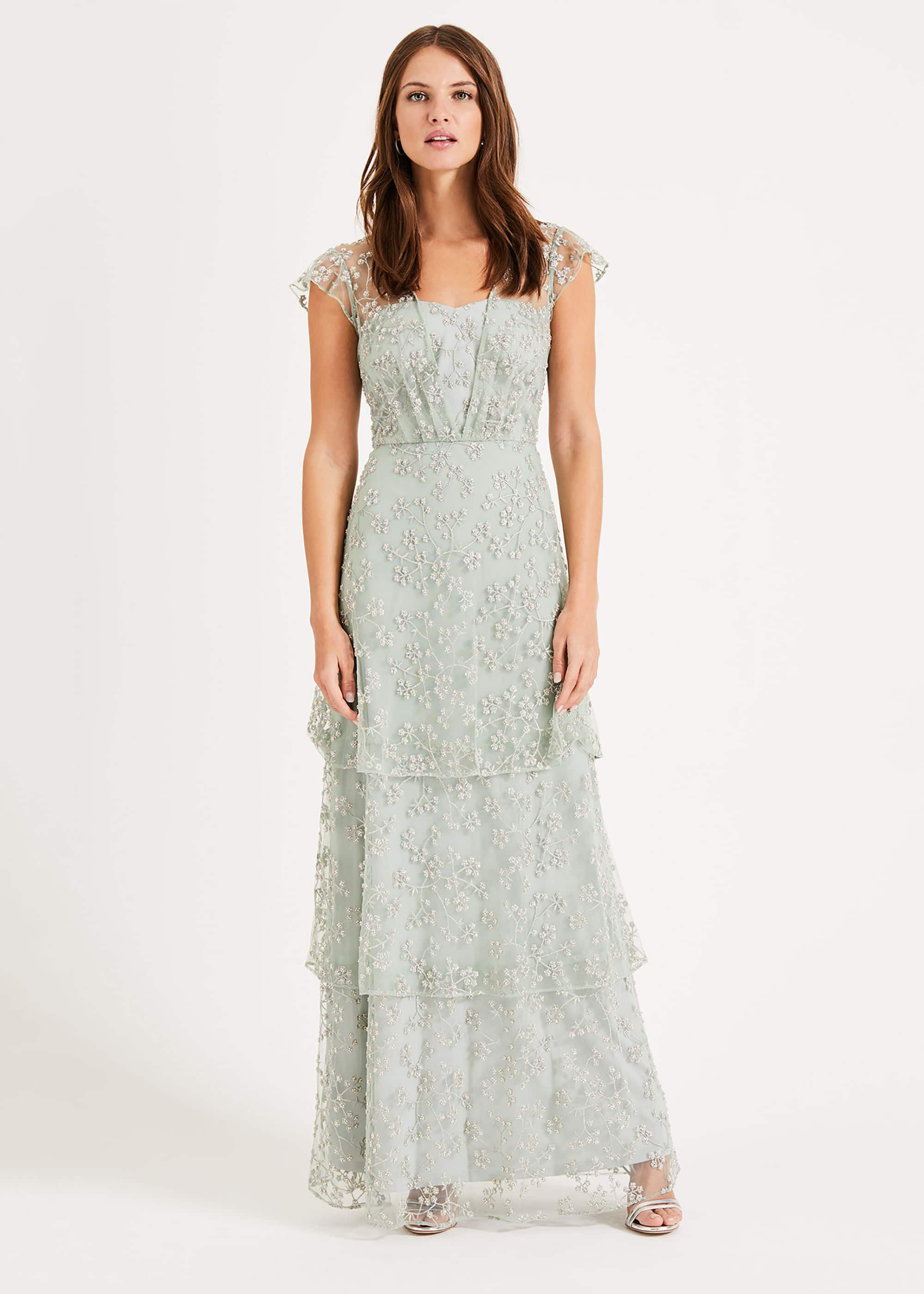 Phase Eight Rai Beaded Maxi Dress, Green, Maxi
