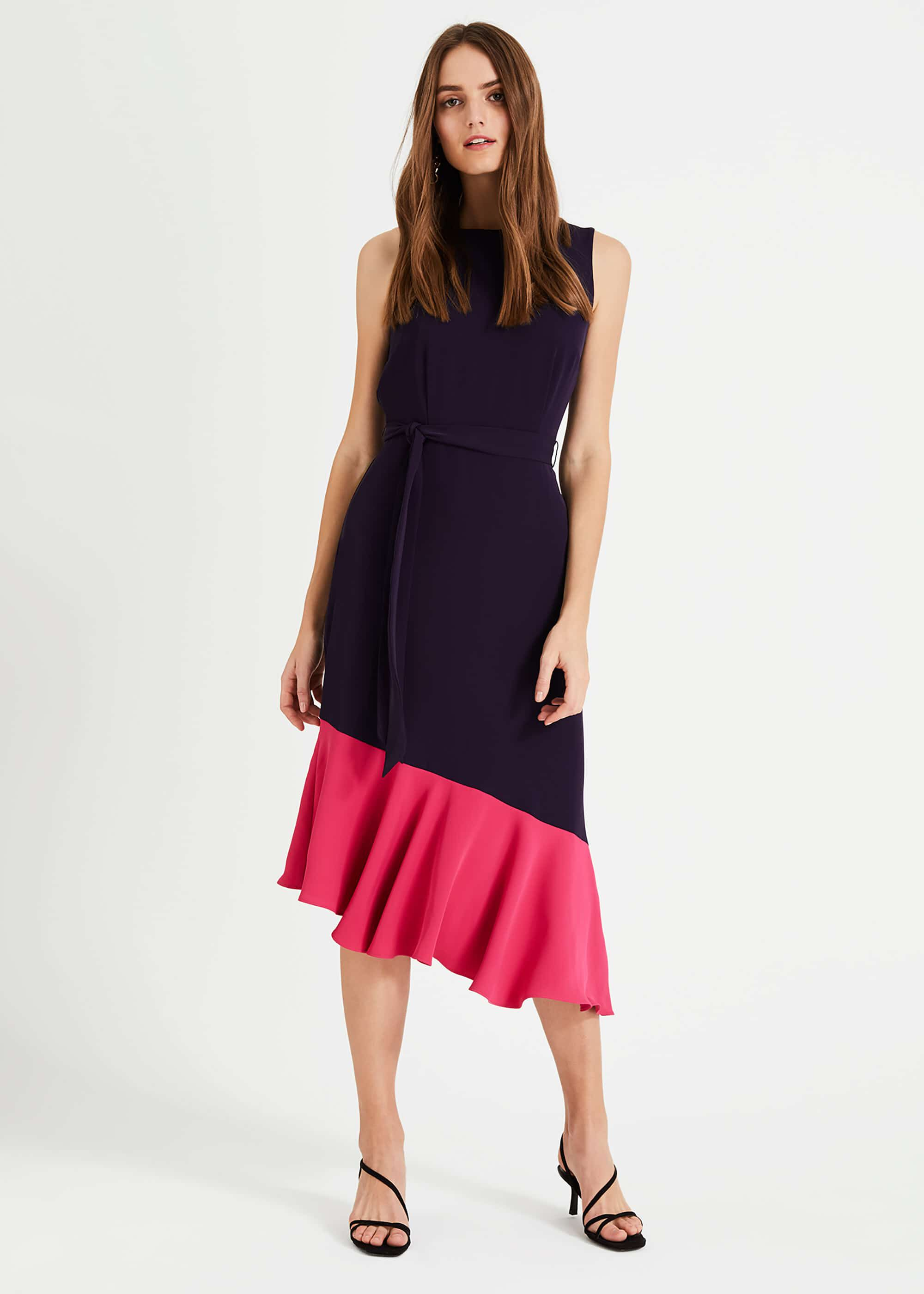 Phase Eight Rosina Contrast Hem Dress, Blue, Asymmetric