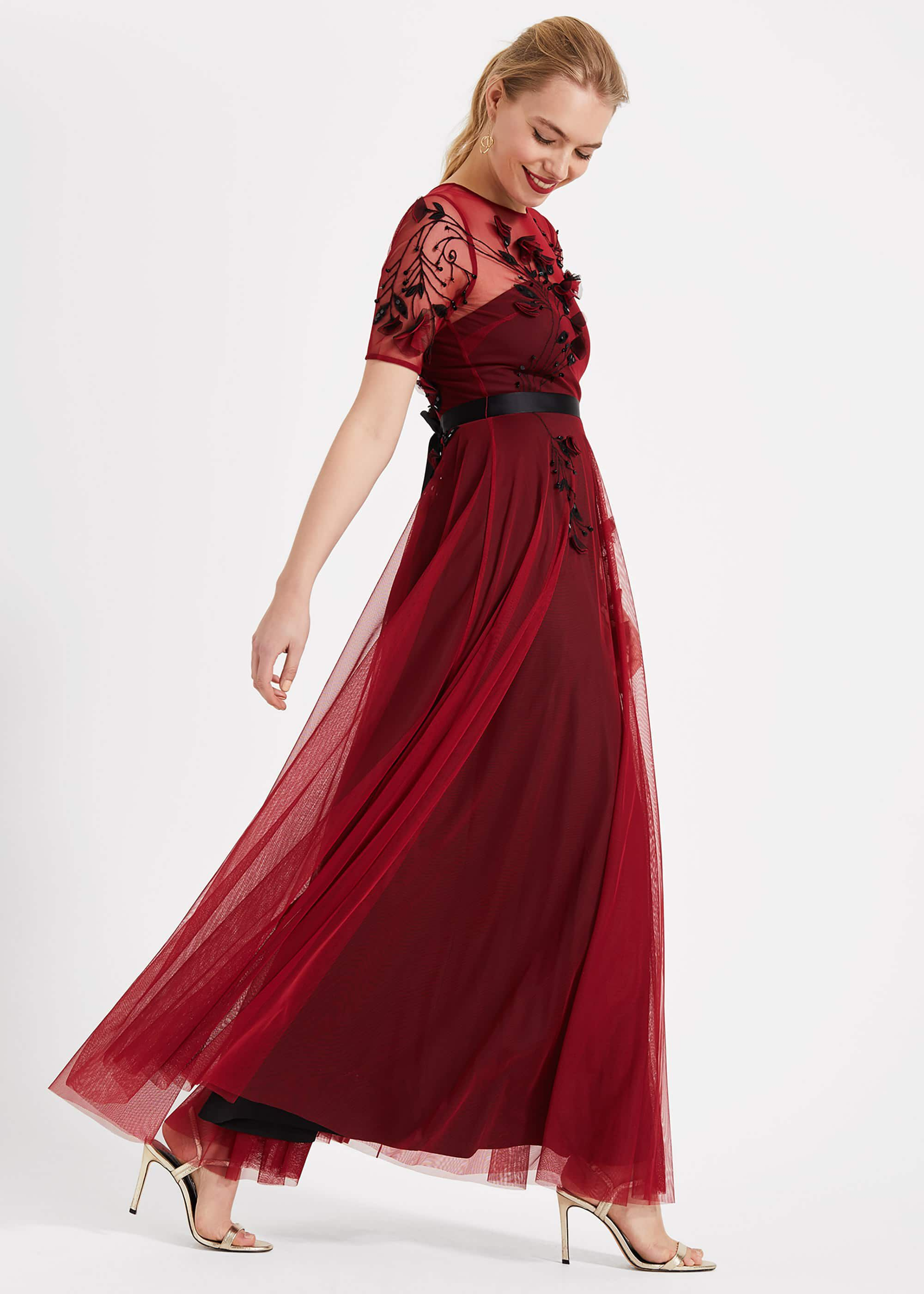 Phase Eight Anna Embroidered Maxi Dress, Red, Maxi