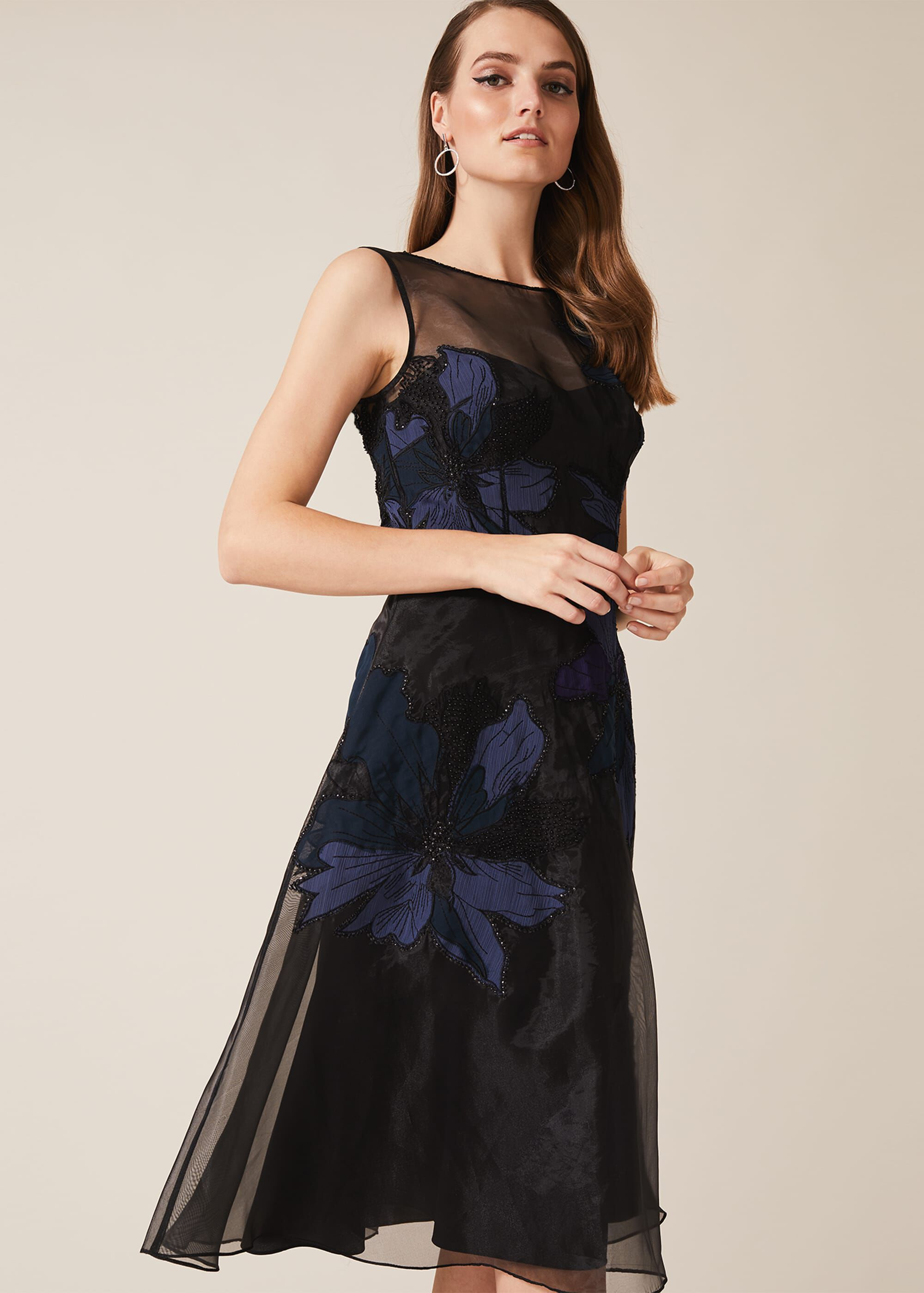 Phase Eight Simone Applique Flower Dress, Black, Fit & Flare