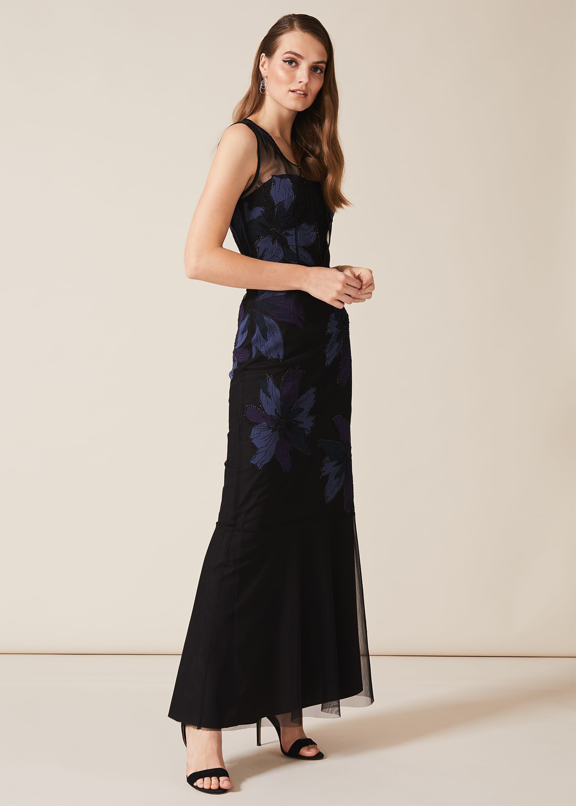 Phase Eight Barbara Applique Floral Dress, Black, Maxi