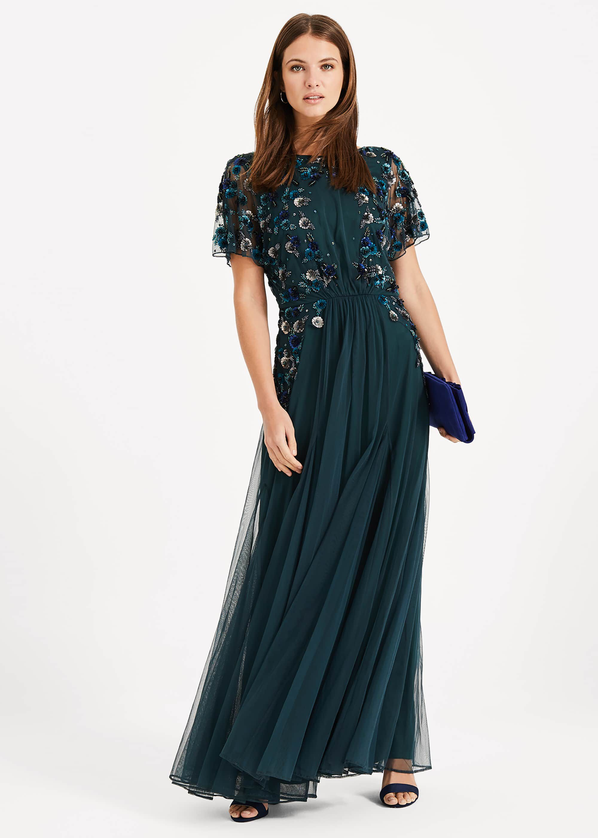 Phase Eight Arlette Beaded Maxi Dress, Green, Maxi