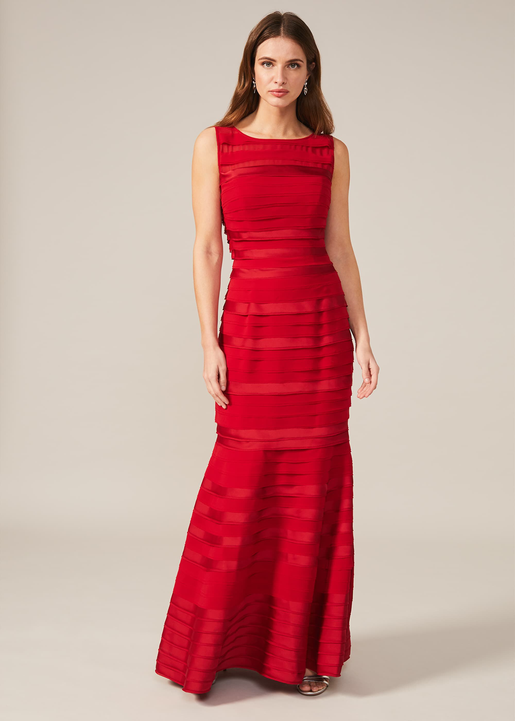 Phase Eight Shannon Layered Dress, Red, Maxi, Occasion Dress