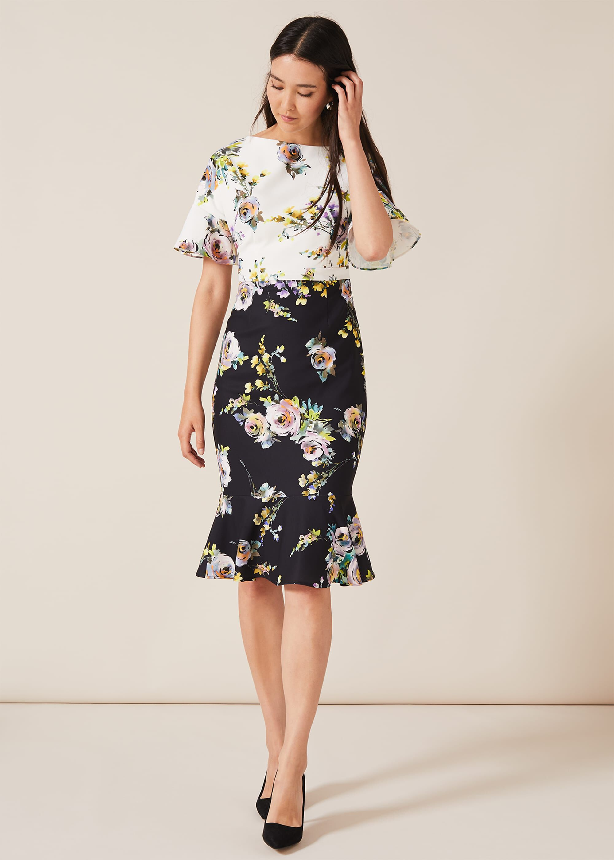 Phase Eight Anita Floral Dress, Cream, Fitted