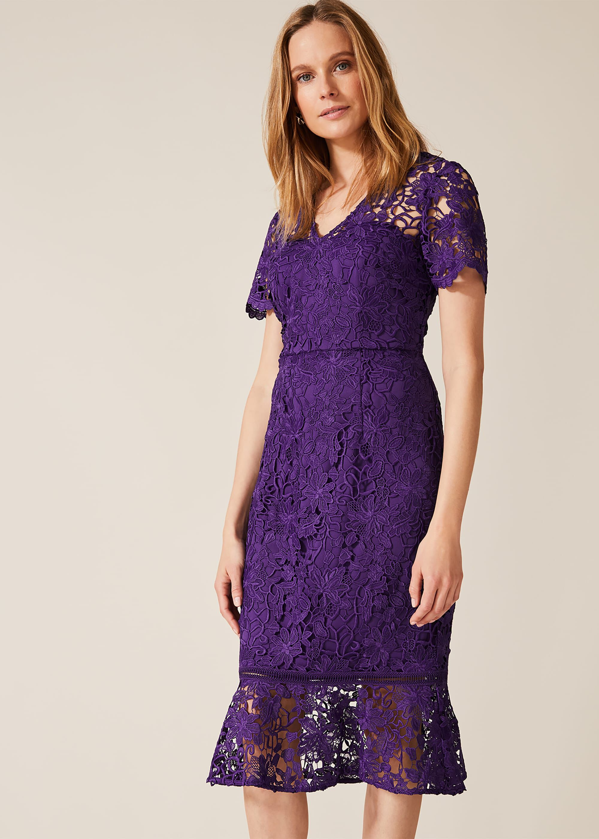 Phase Eight Daria Guipire Lace Dress, Purple, Default, Occasion Dress