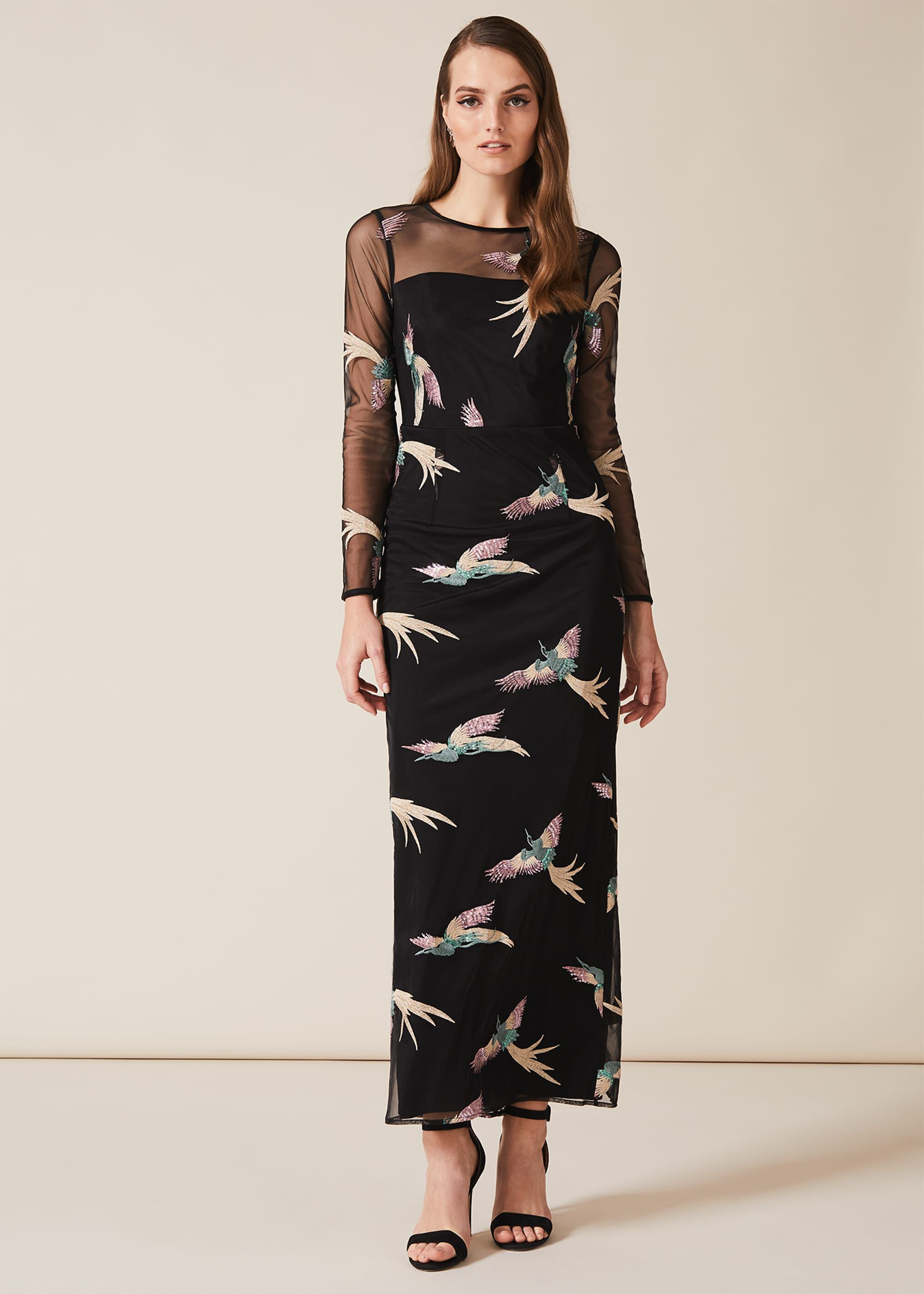 Phase Eight Astrid Embroidered Bird Dress, Black, Maxi