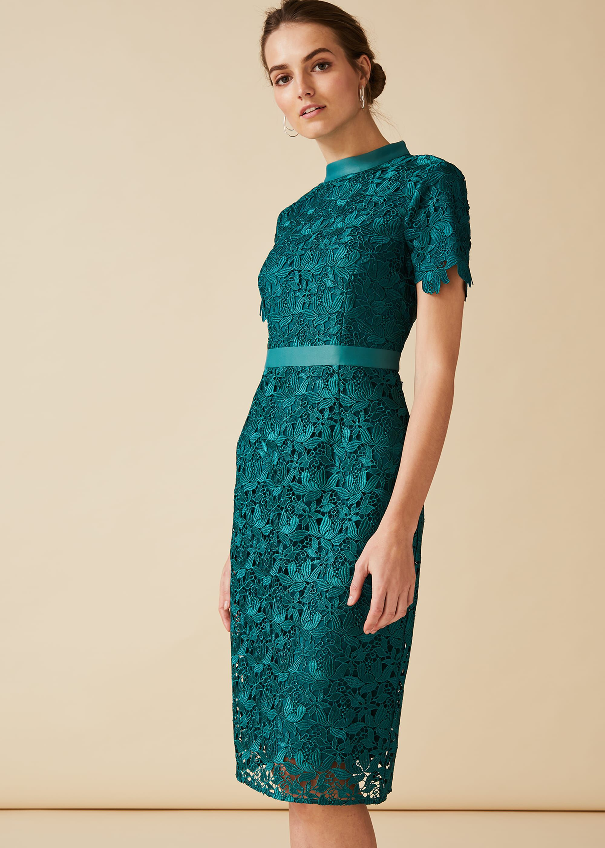 Phase Eight Marietta Guipure Lace Dress, Green, Dresses, Occasion Dress
