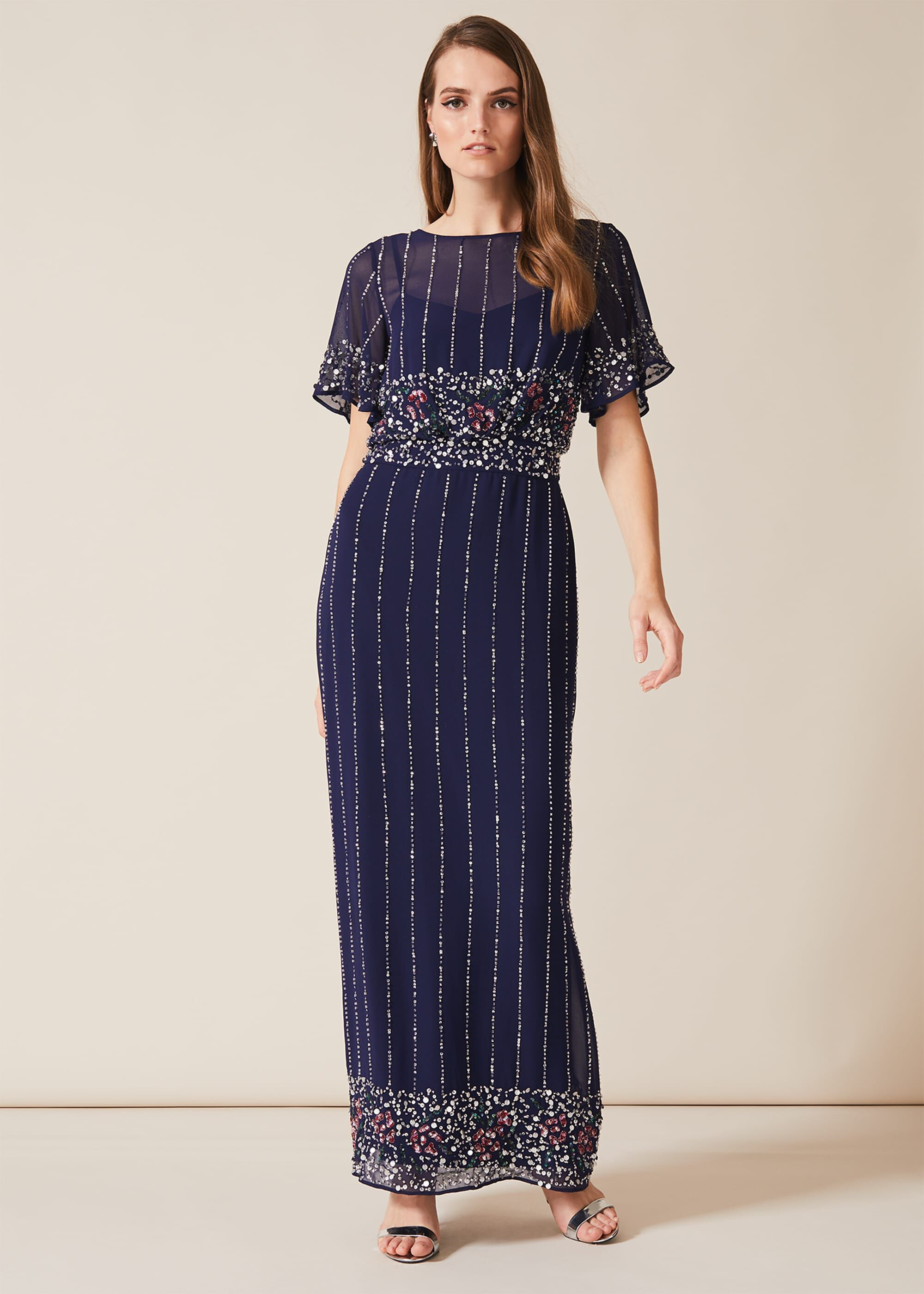 1930s Evening Dresses | Old Hollywood Dress Phase Eight Doris Beaded Dress Blue Maxi Occasion Dress £325.00 AT vintagedancer.com