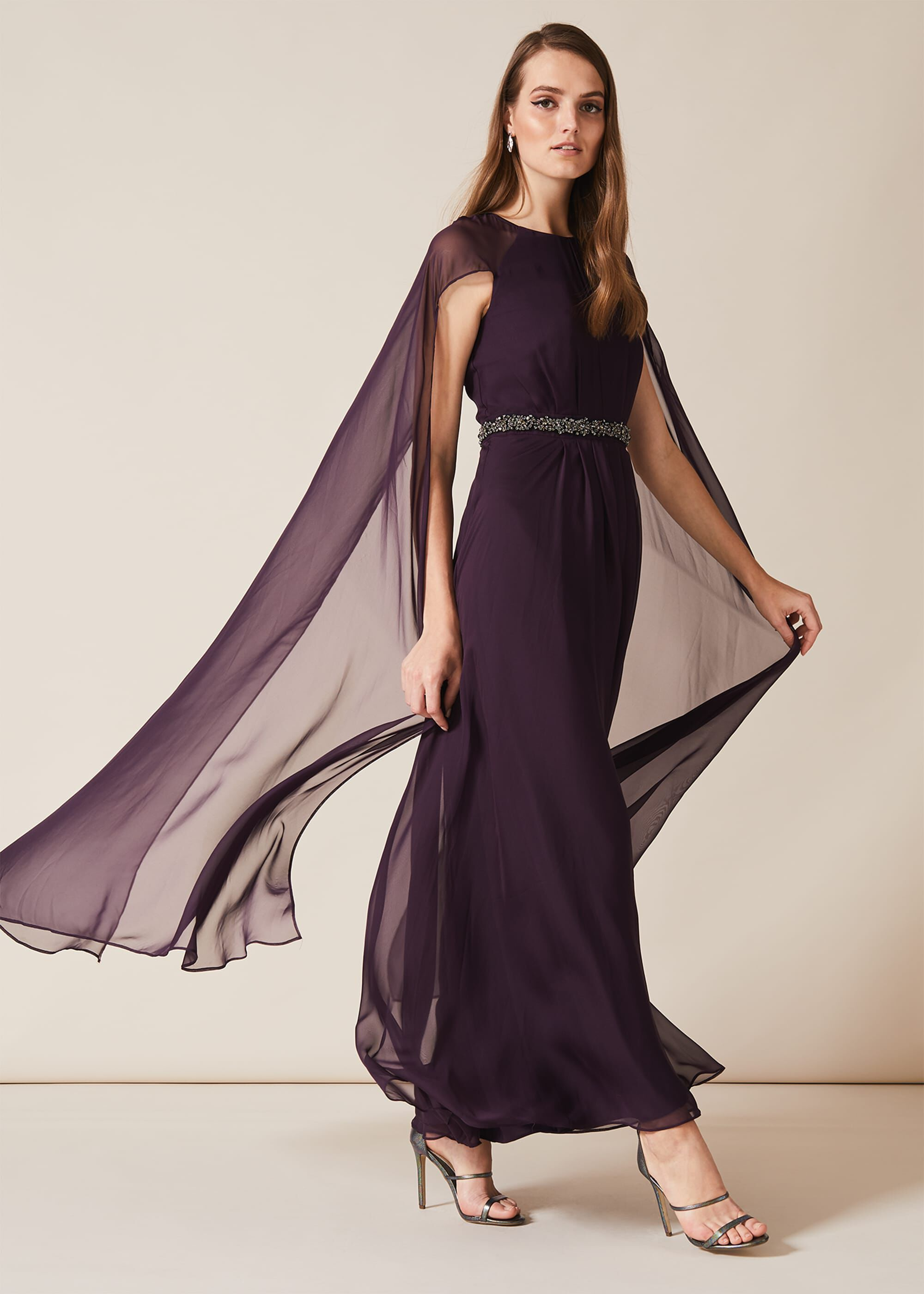 Phase Eight Samira Cape Beaded Dress, Purple, Maxi, Occasion Dress