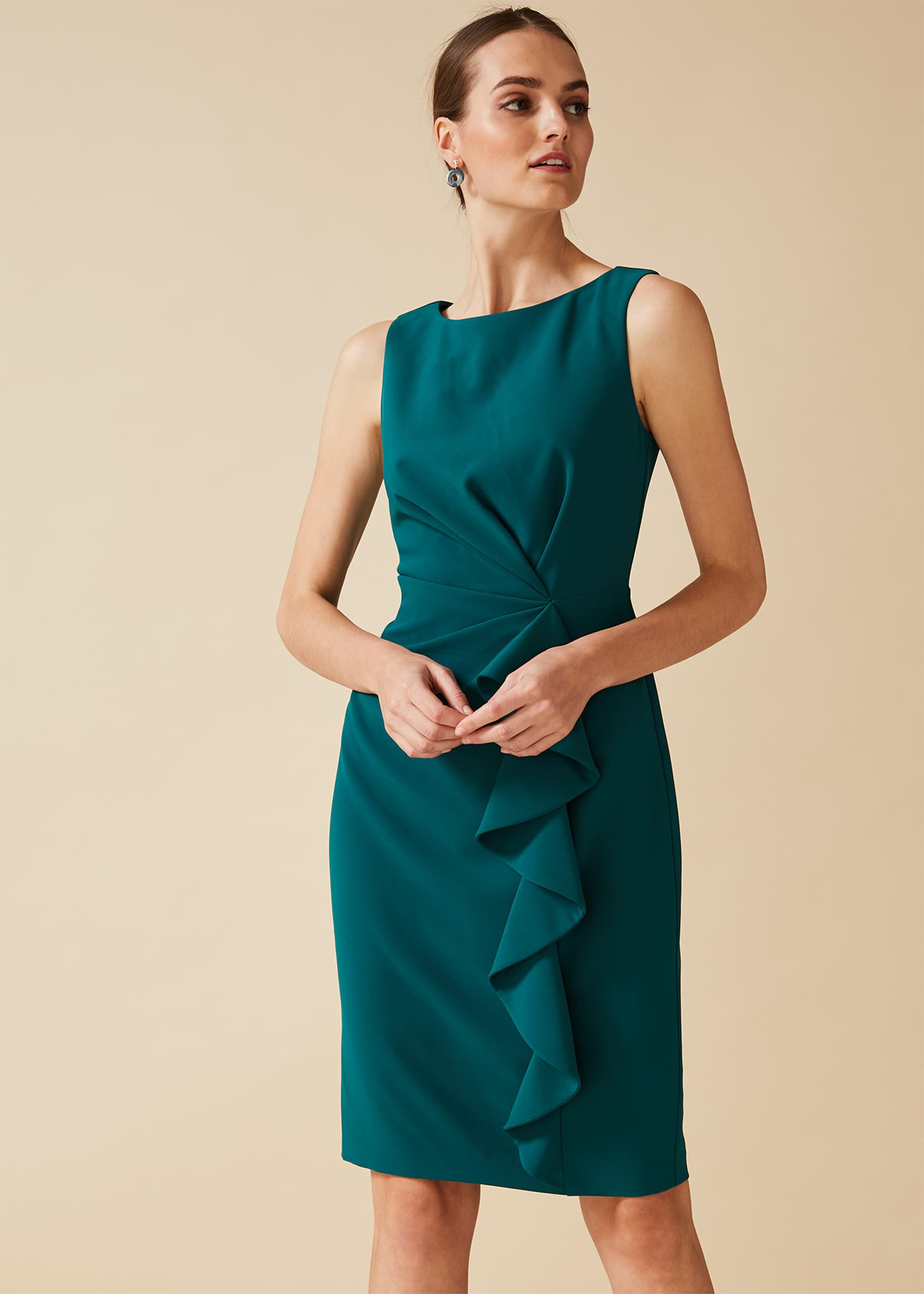 Phase Eight Gia Frill Dress, Green, Shift, Occasion Dress
