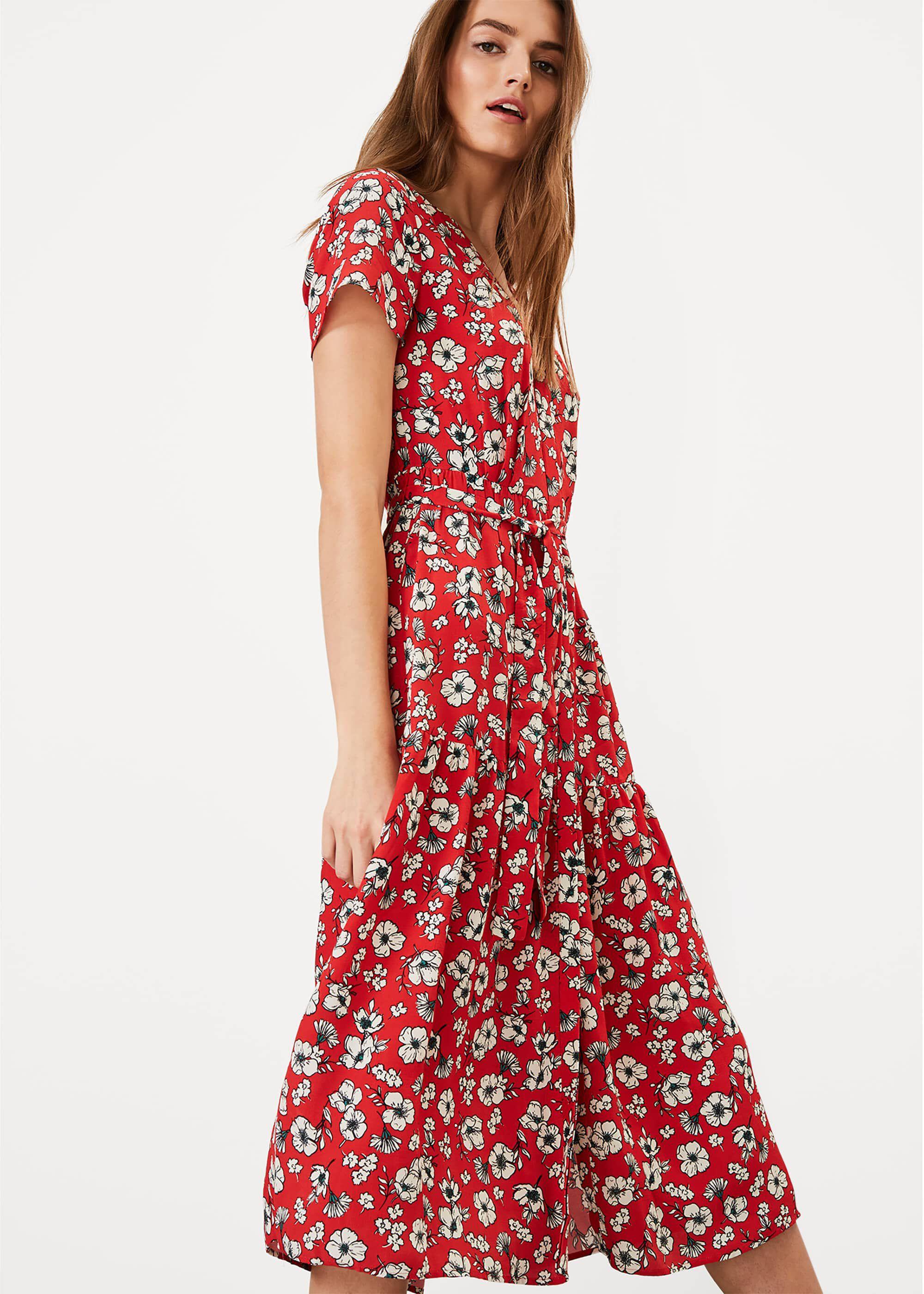 Phase Eight Daisy Floral Dress, Red, Shirt