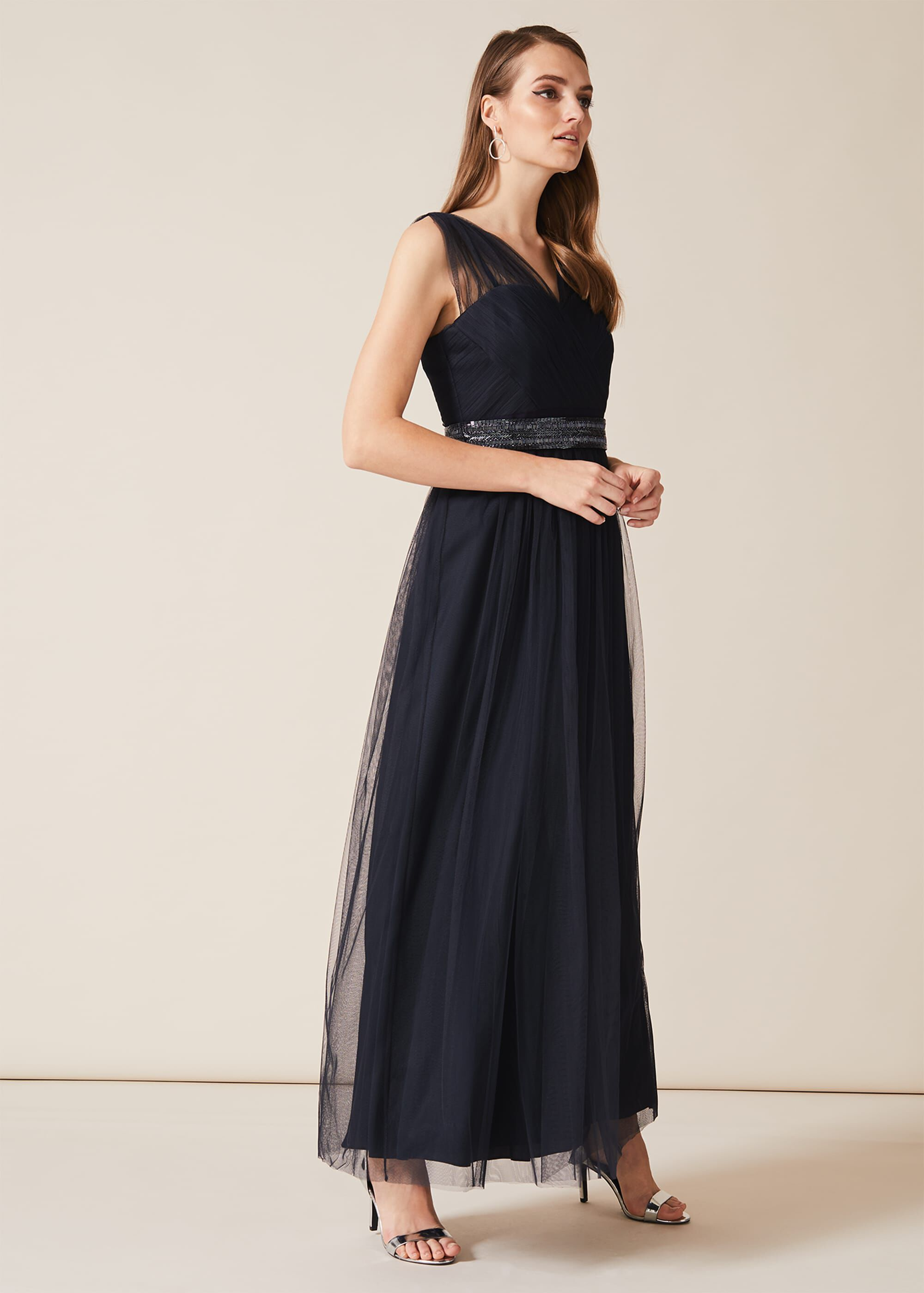 1940s Dresses | 40s Dress, Swing Dress Phase Eight Romy Tulle Maxi Dress Blue Maxi Occasion Dress £139.30 AT vintagedancer.com