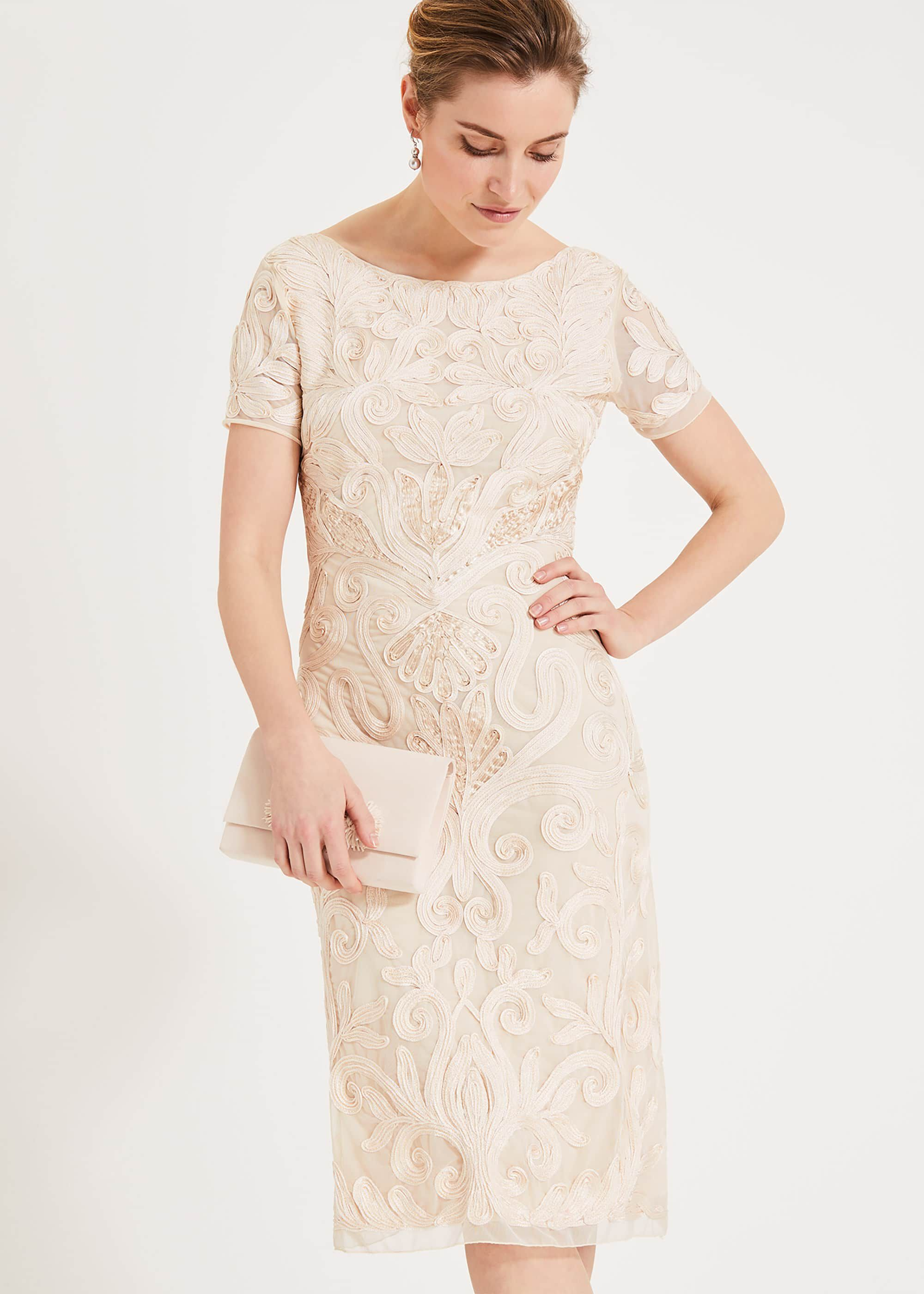 Phase Eight Rosalie Tapework Dress, Cream, Shift, Occasion Dress