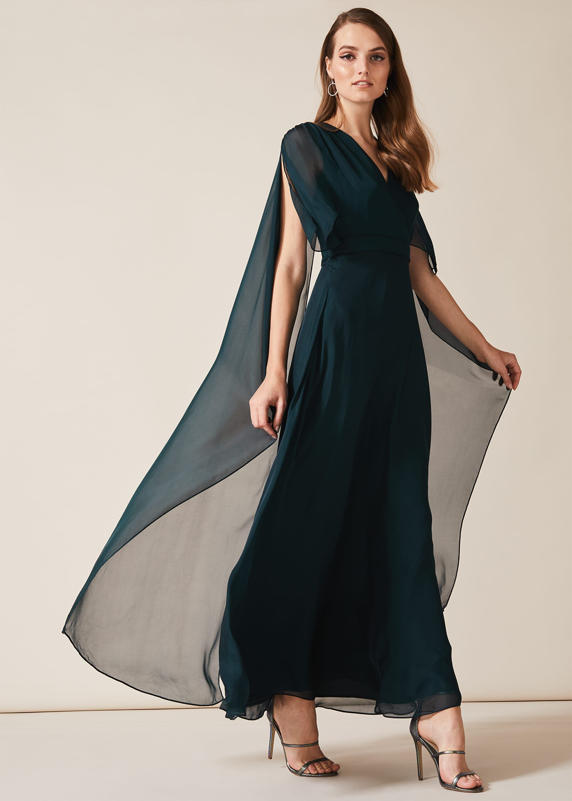 Phase Eight Arwen Silk Drape Dress, Blue, Maxi, Occasion Dress