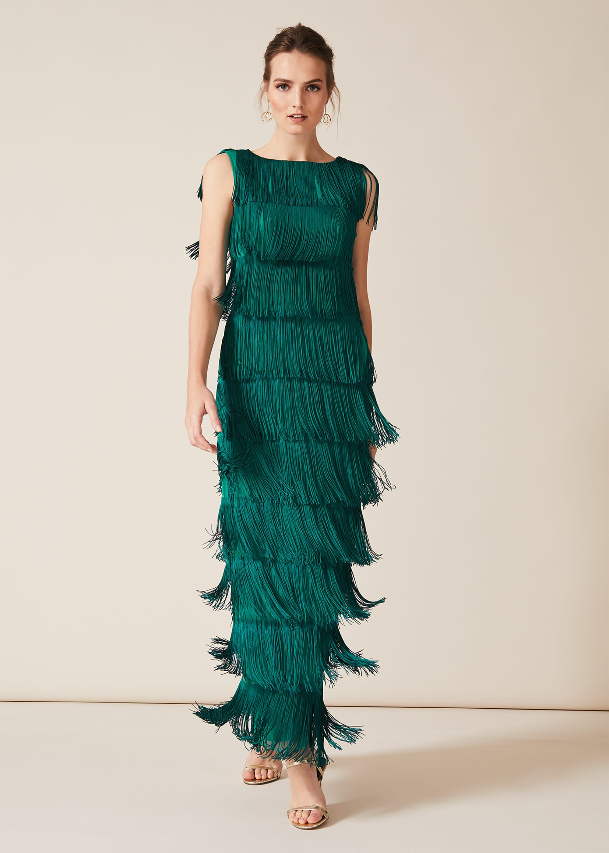 Phase Eight Ismay Fringe Maxi Dress, Green, Maxi, Occasion Dress