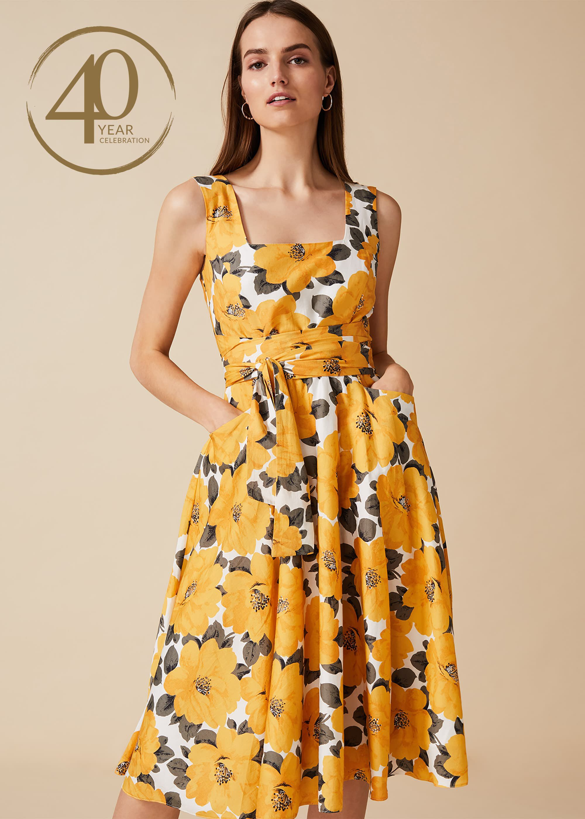 Phase Eight Stephanie Floral Dress, Yellow, Fit & Flare, Occasion Dress