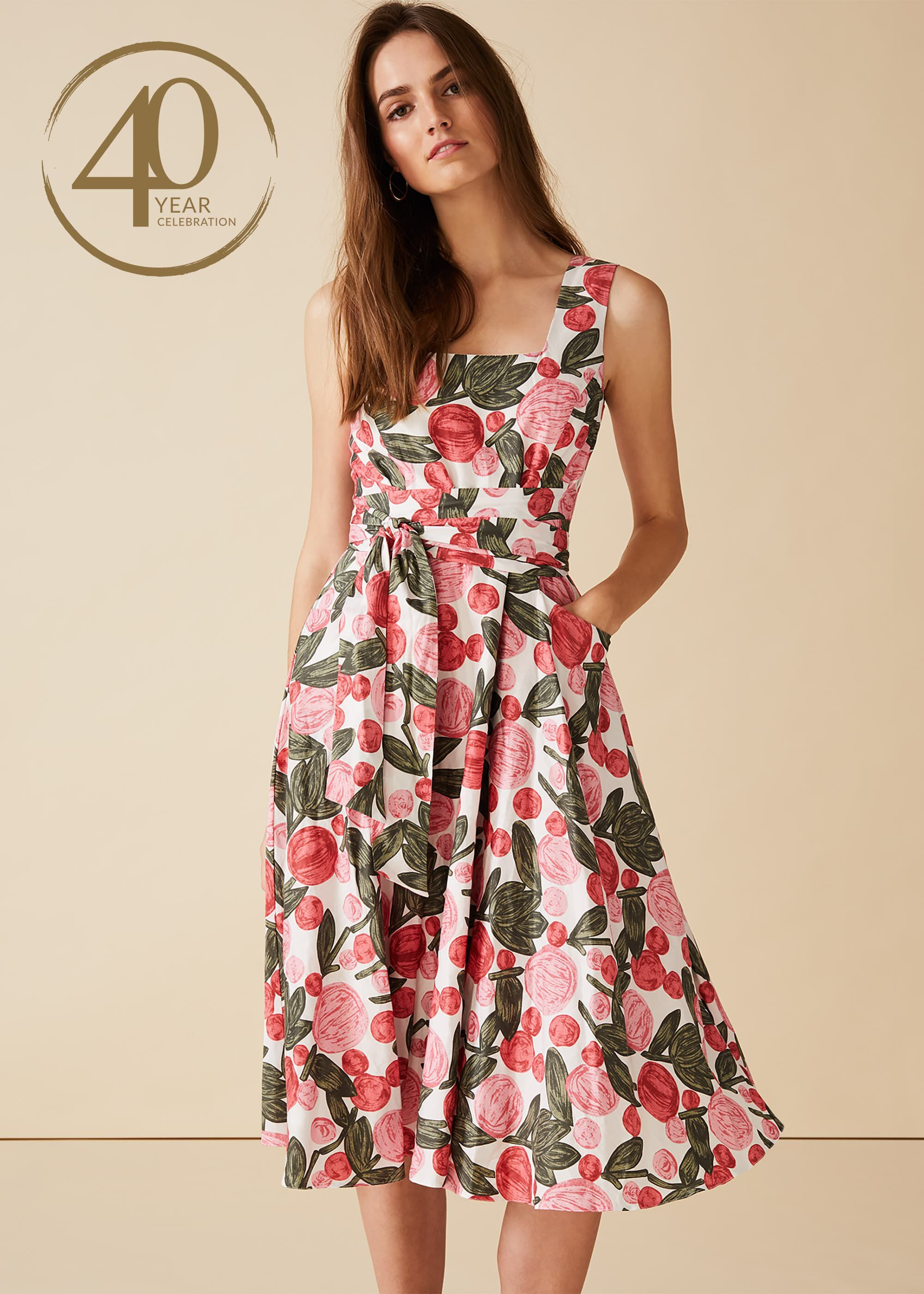 Phase Eight Patsy Floral Dress, Pink, Fit & Flare