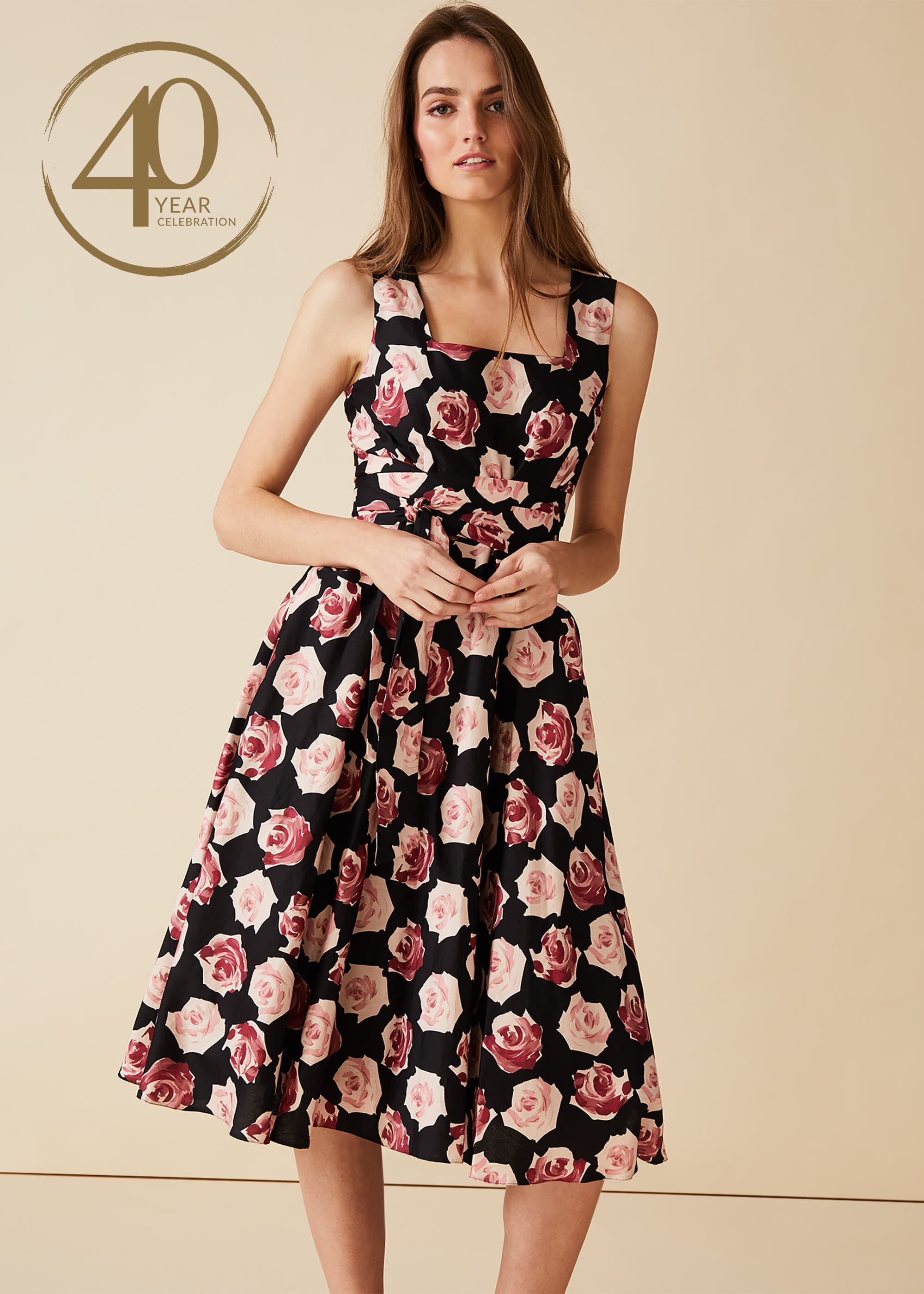 Phase Eight Judith Floral Dress, Black, Fit & Flare, Occasion Dress
