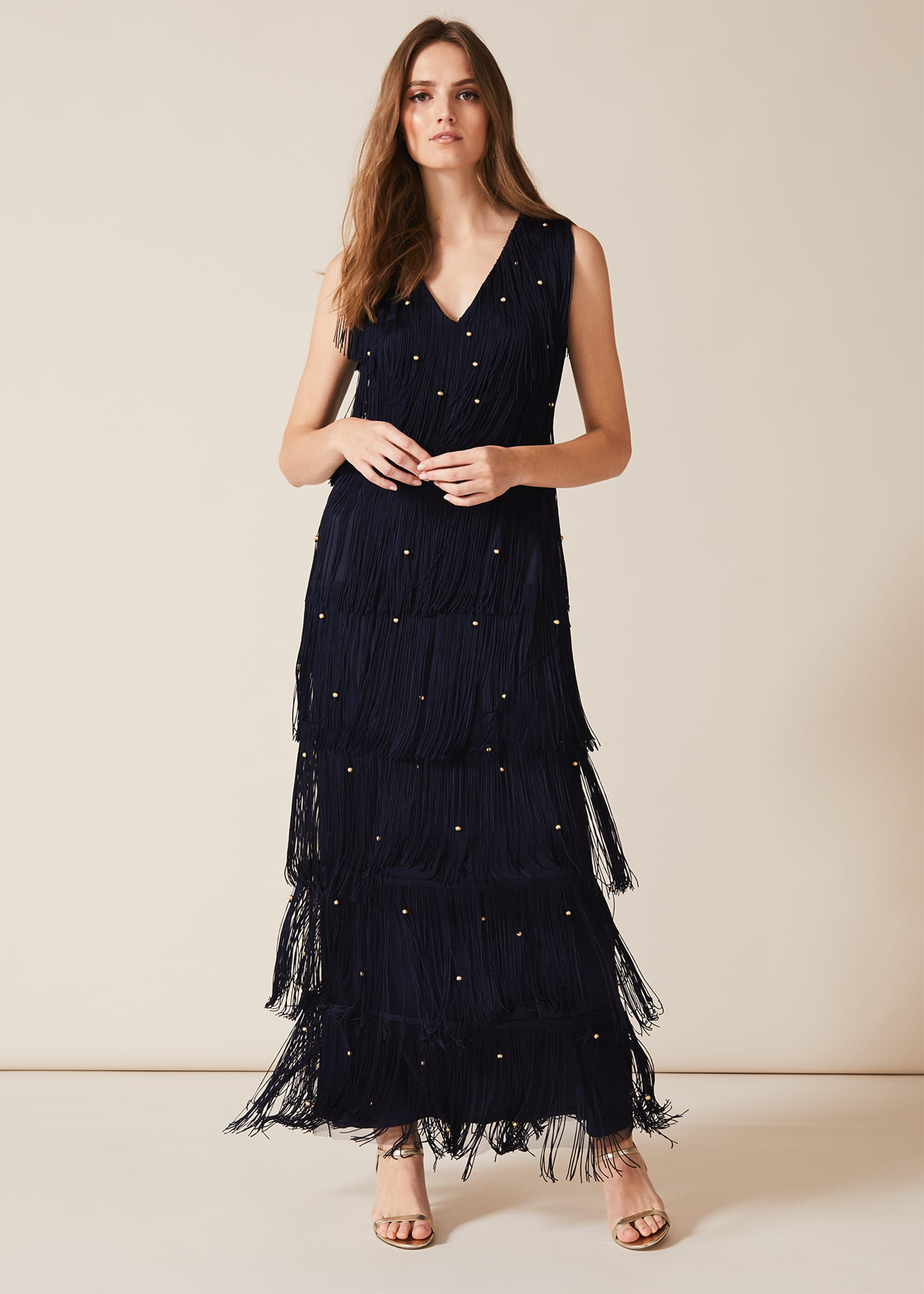 1920s Dresses UK | Flapper, Gatsby, Downton Abbey Dress Phase Eight Kandice Fringe Maxi Dress Blue Maxi Occasion Dress £130.00 AT vintagedancer.com