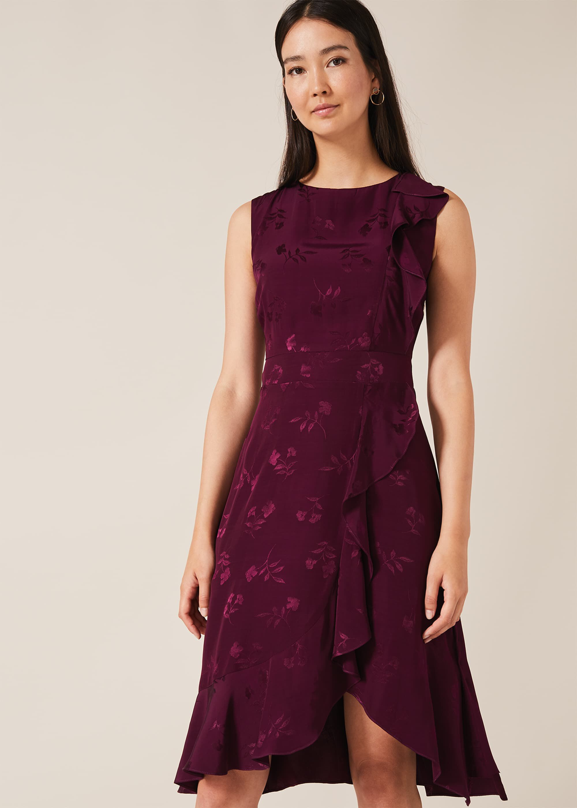 Phase Eight Reese Jacquard Frill Dress, Purple, Default